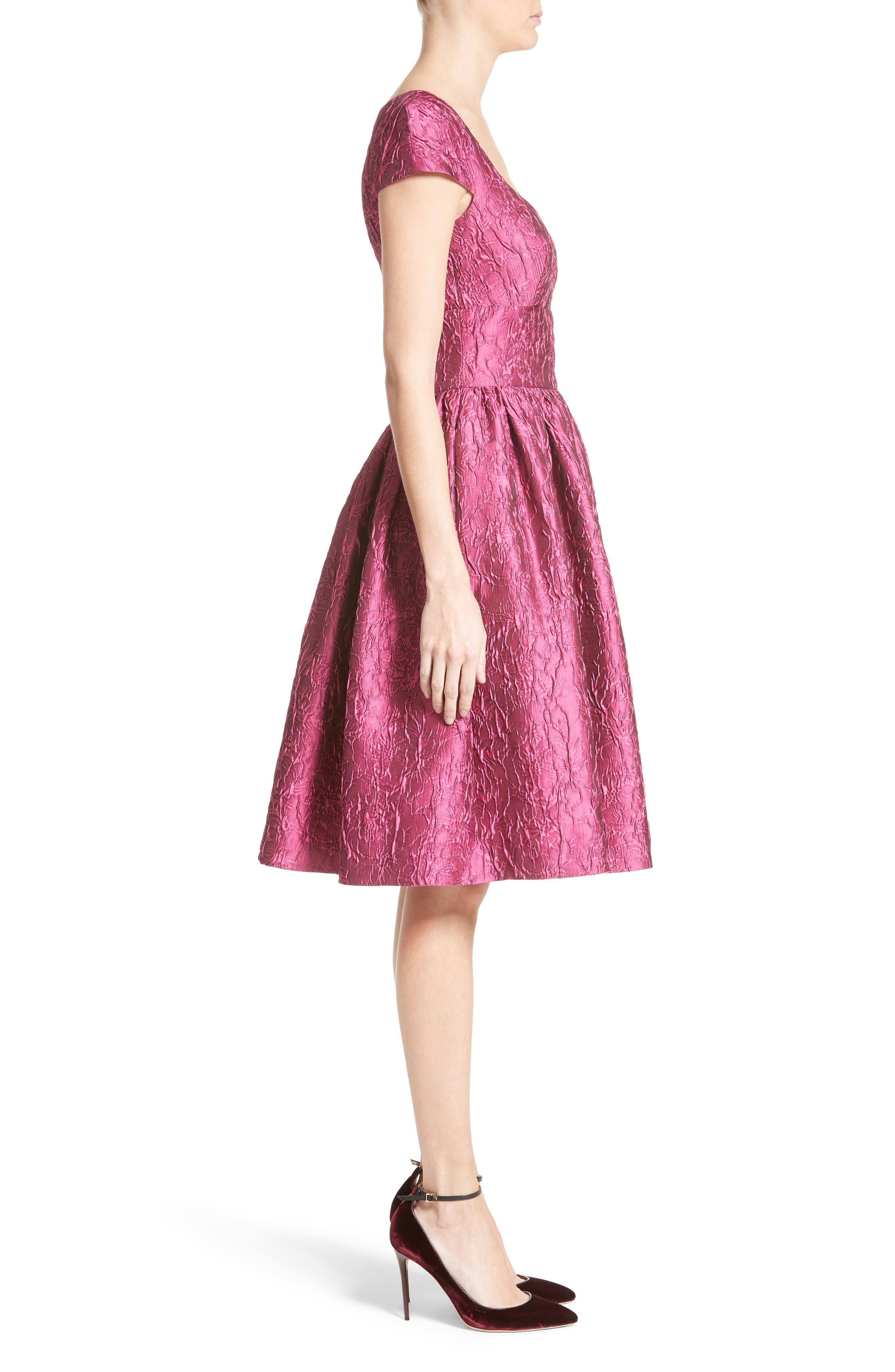 Badgley Mischka Couture Cap Sleeve Brocade Party Dress,                             Alternate thumbnail 3, color,
