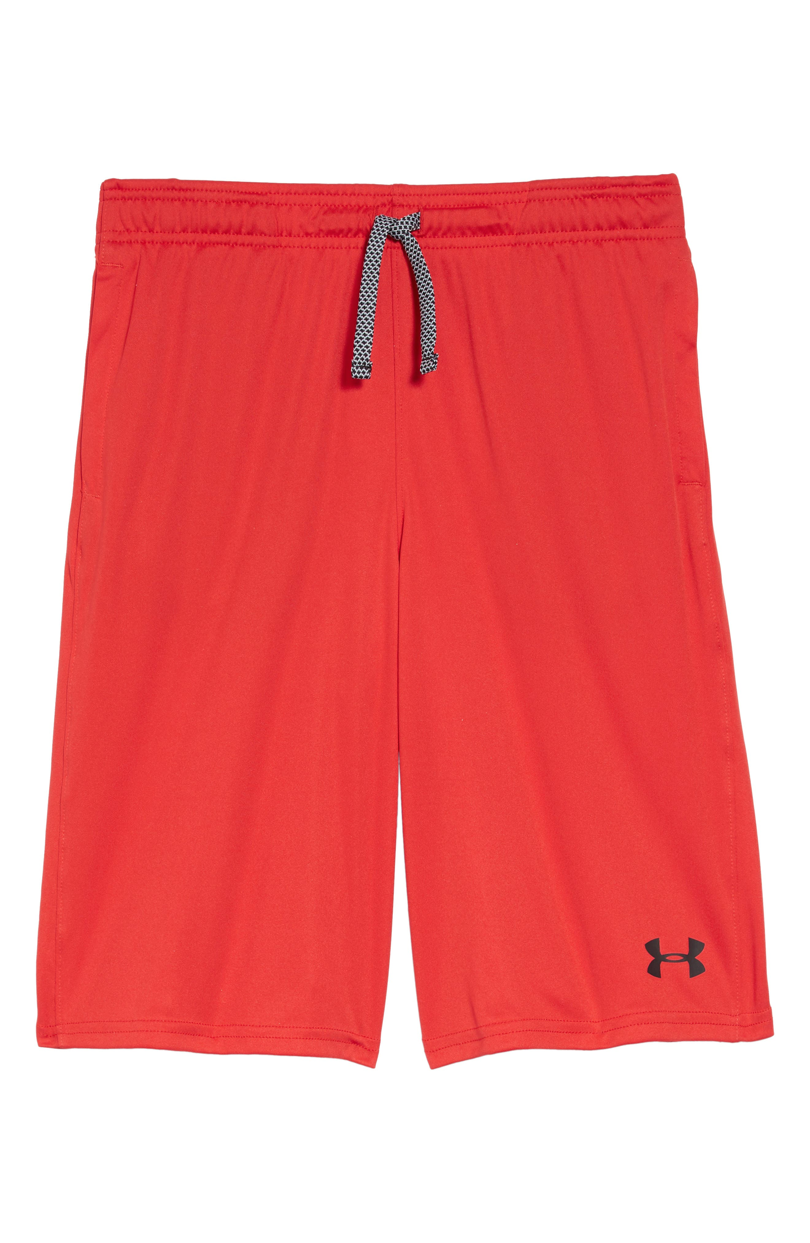 Boys Under Armour Prototype Wordmark Athletic Shorts Size S (8)  Black