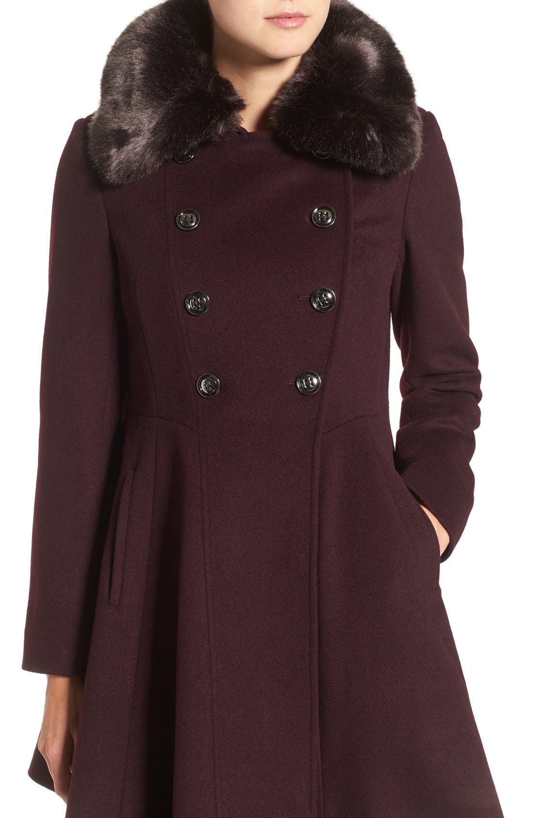 Double Breasted Coat with Faux Fur Collar,                             Alternate thumbnail 15, color,