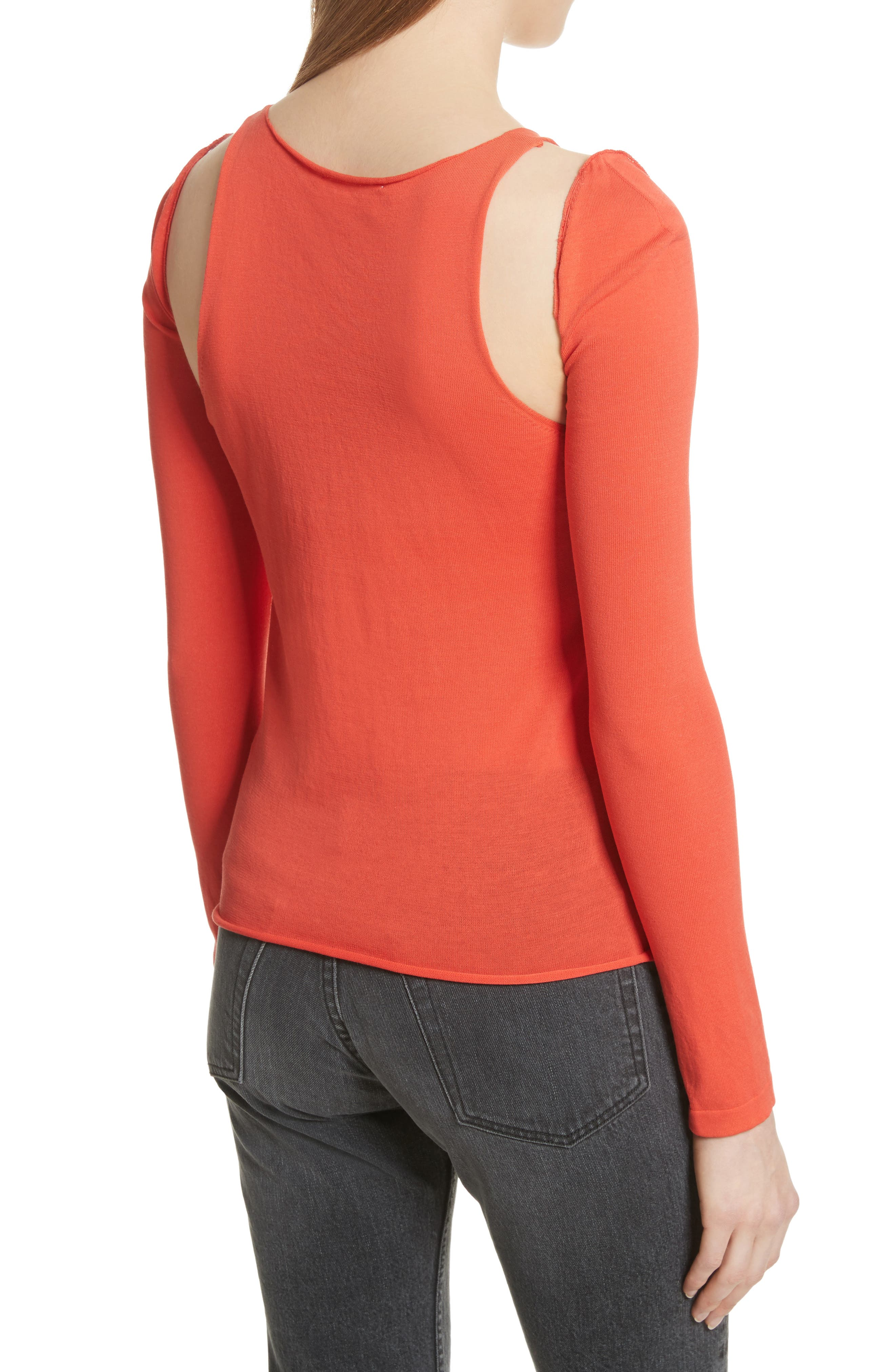 Ribbed Tank Top with Long Sleeves,                             Alternate thumbnail 2, color,                             808