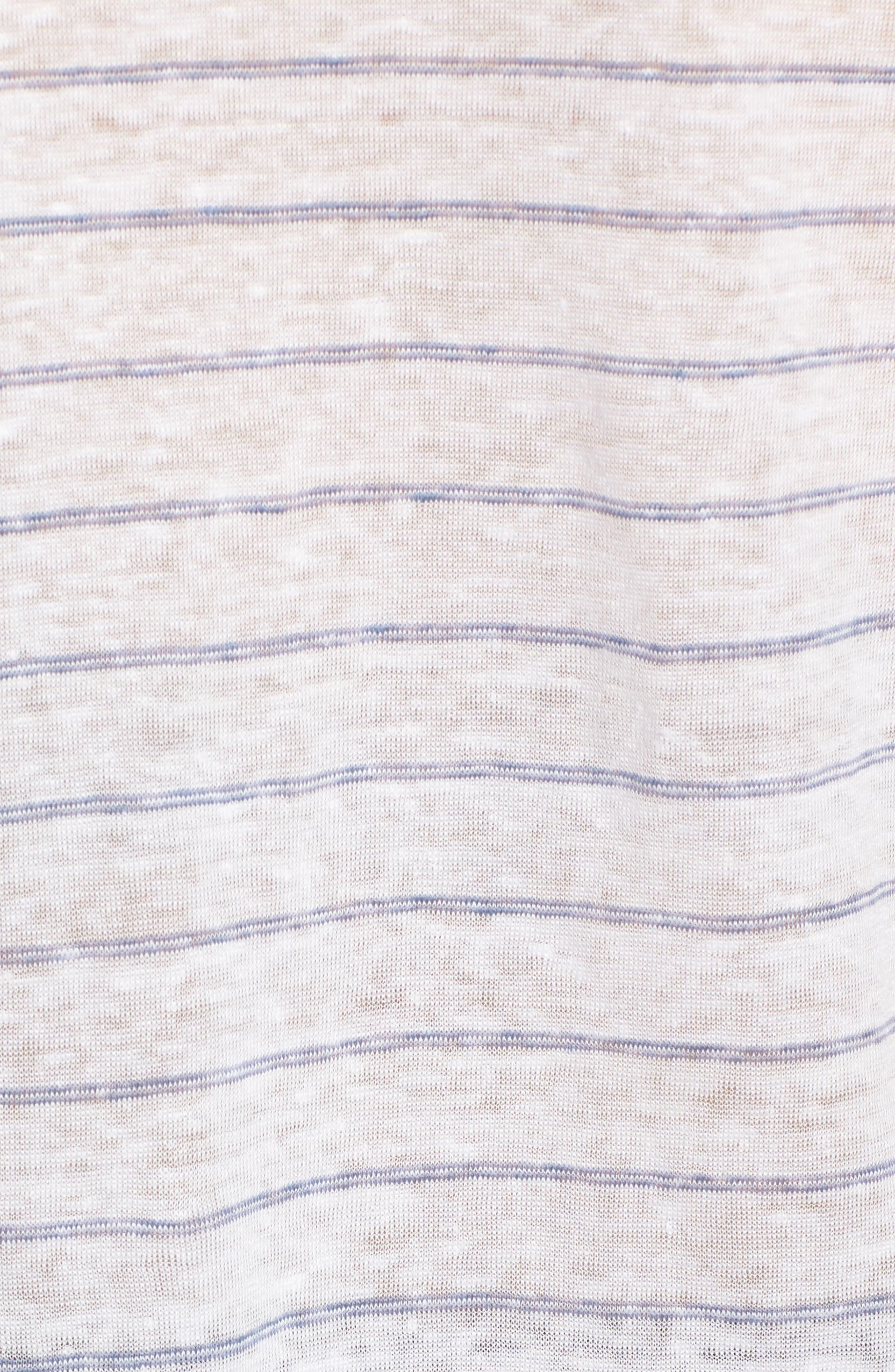 Lynnea Stripe Linen Tee,                             Alternate thumbnail 5, color,                             100