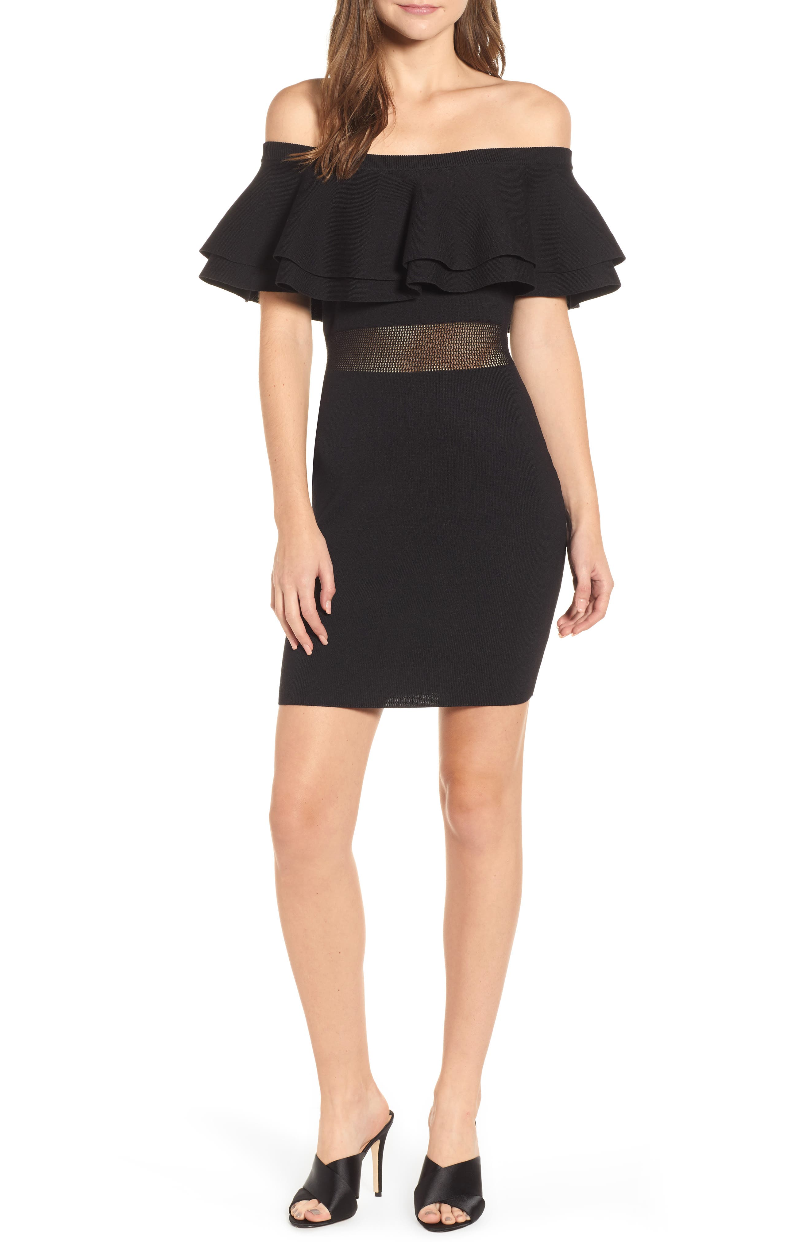 Off the Shoulder Sweater Dress, Main, color, BLACK