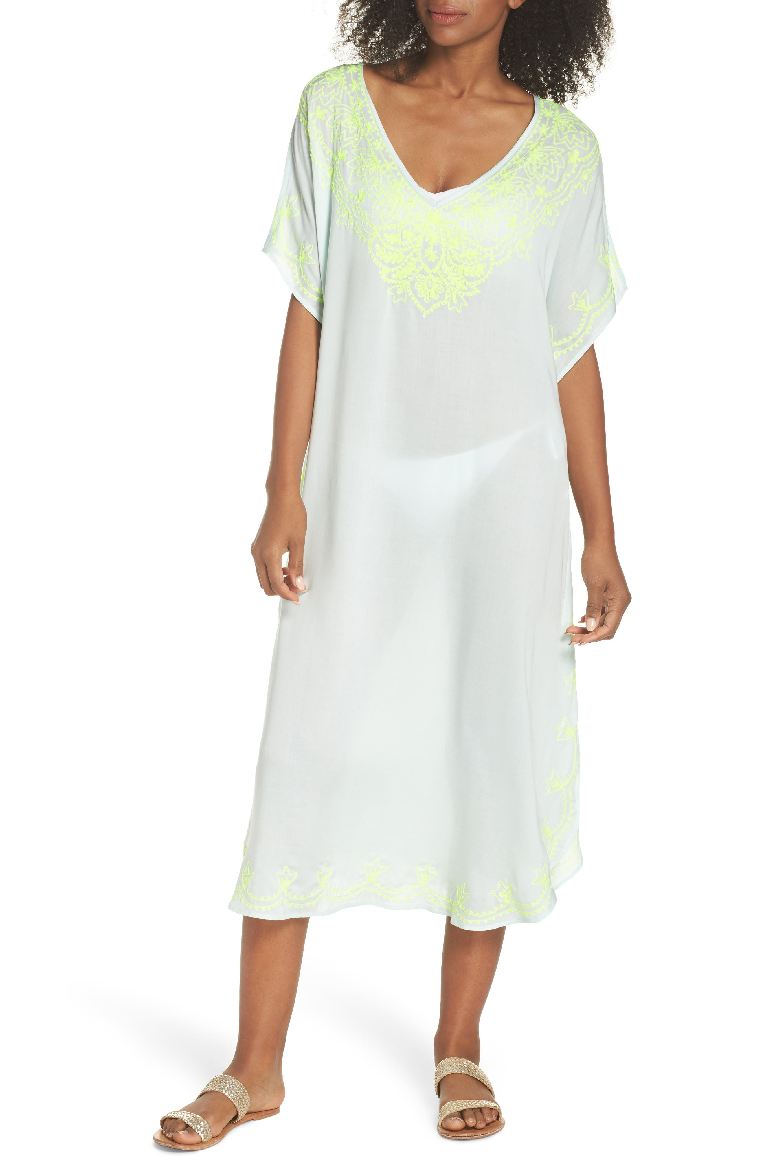 Embroidered Cover-Up Caftan,                             Main thumbnail 1, color,                             SEAFOAM
