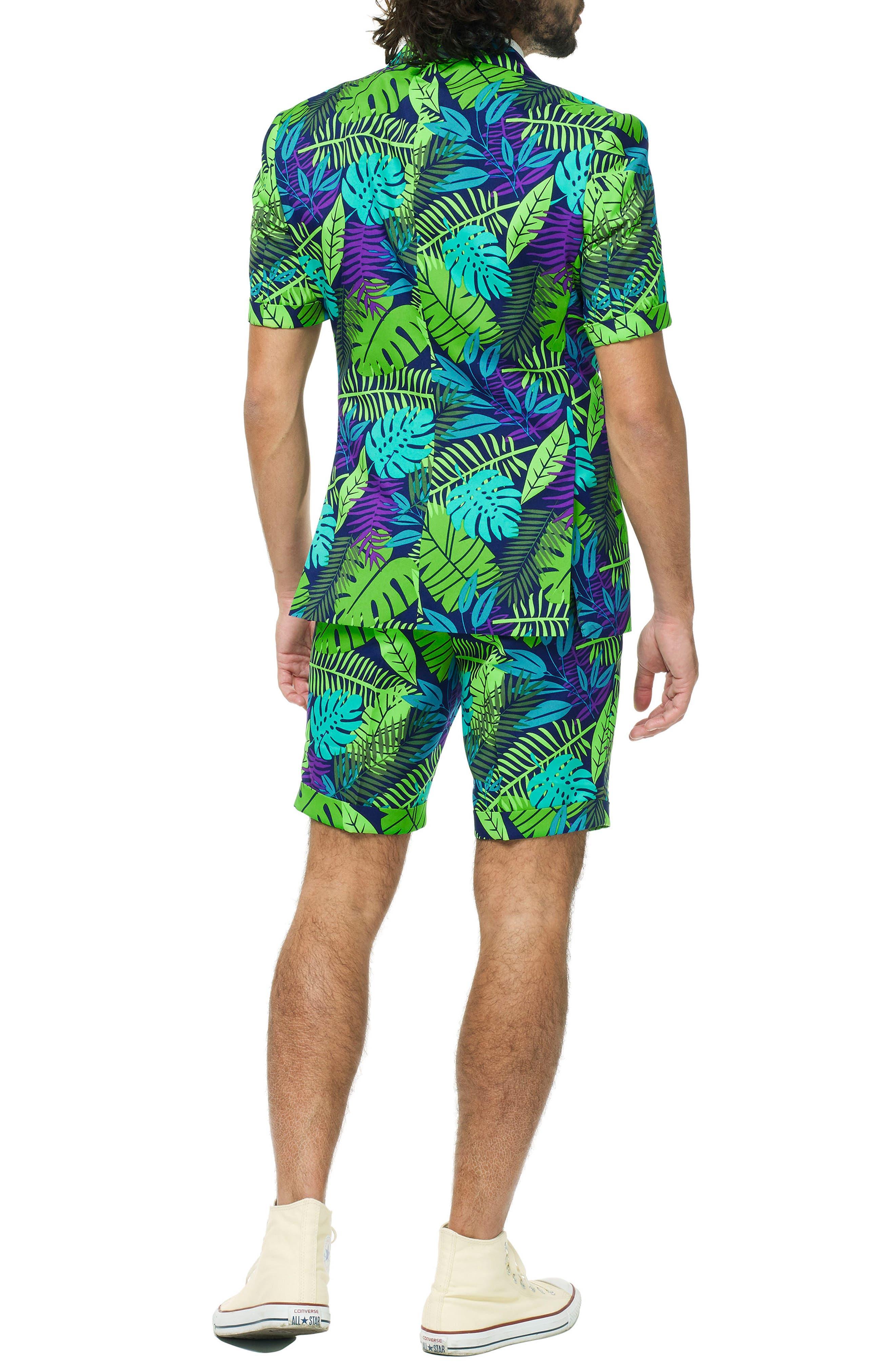 Juicy Jungle Trim Fit Two-Piece Short Suit with Tie,                             Alternate thumbnail 2, color,