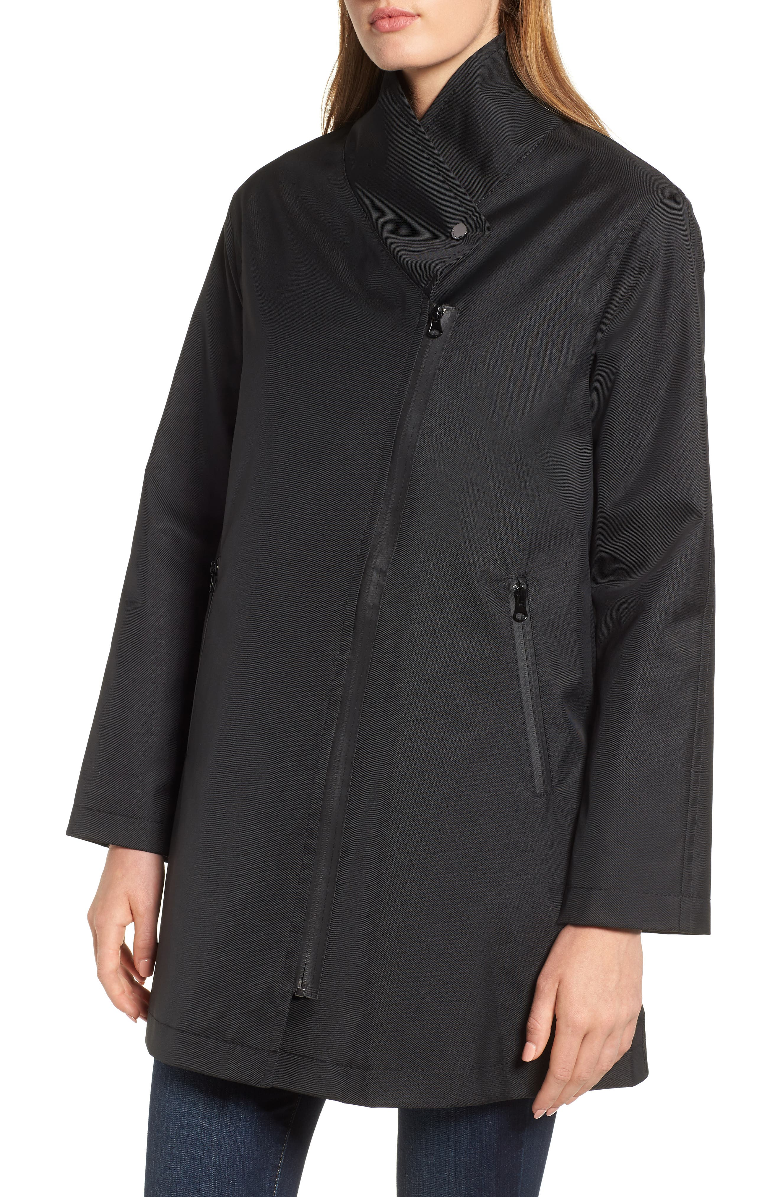 Tenley Asymmetrical Collar Coat,                             Main thumbnail 1, color,                             BLACK
