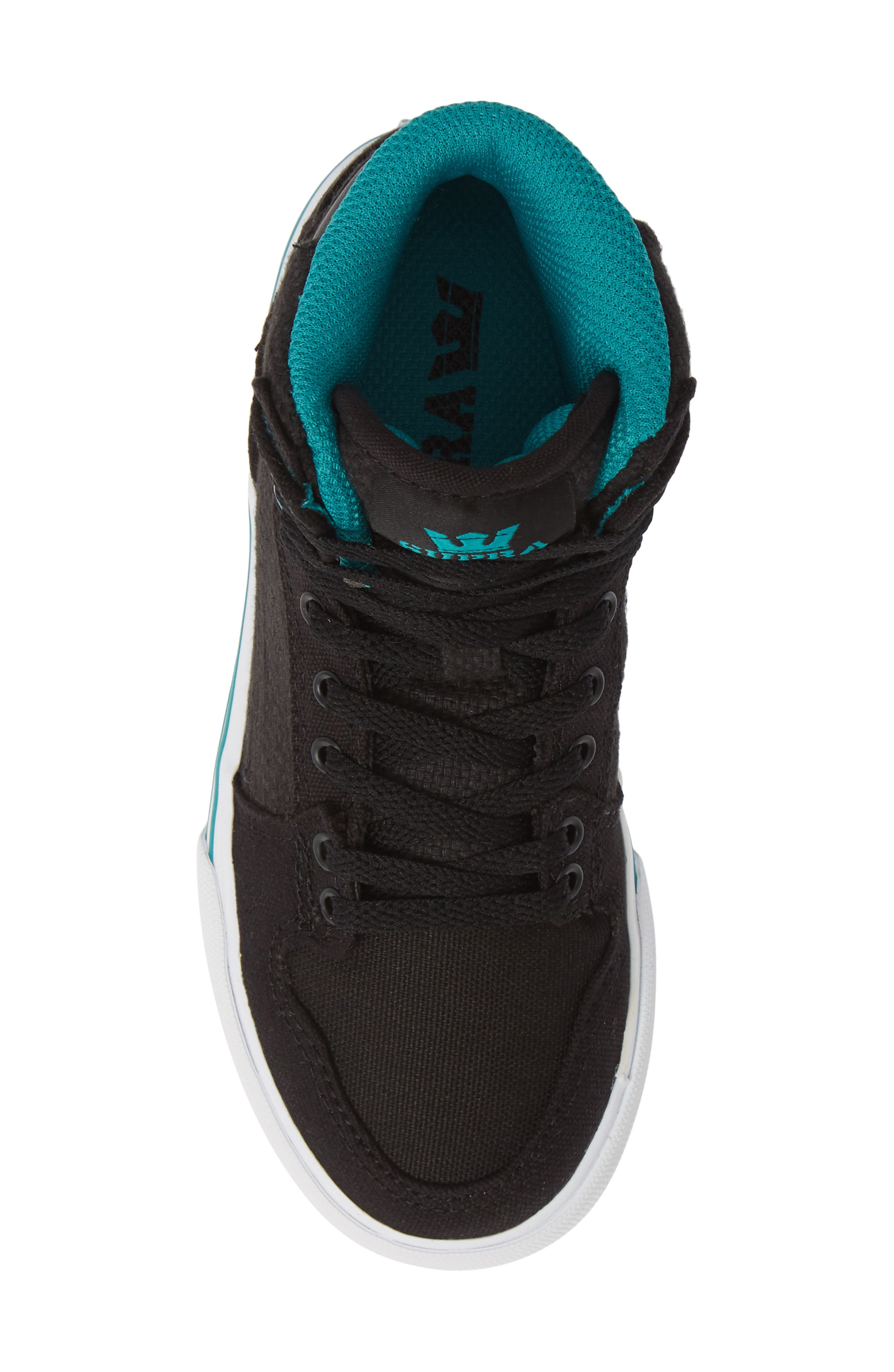 'Vaider' High Top Sneaker,                             Alternate thumbnail 5, color,                             BLACK/ TEAL