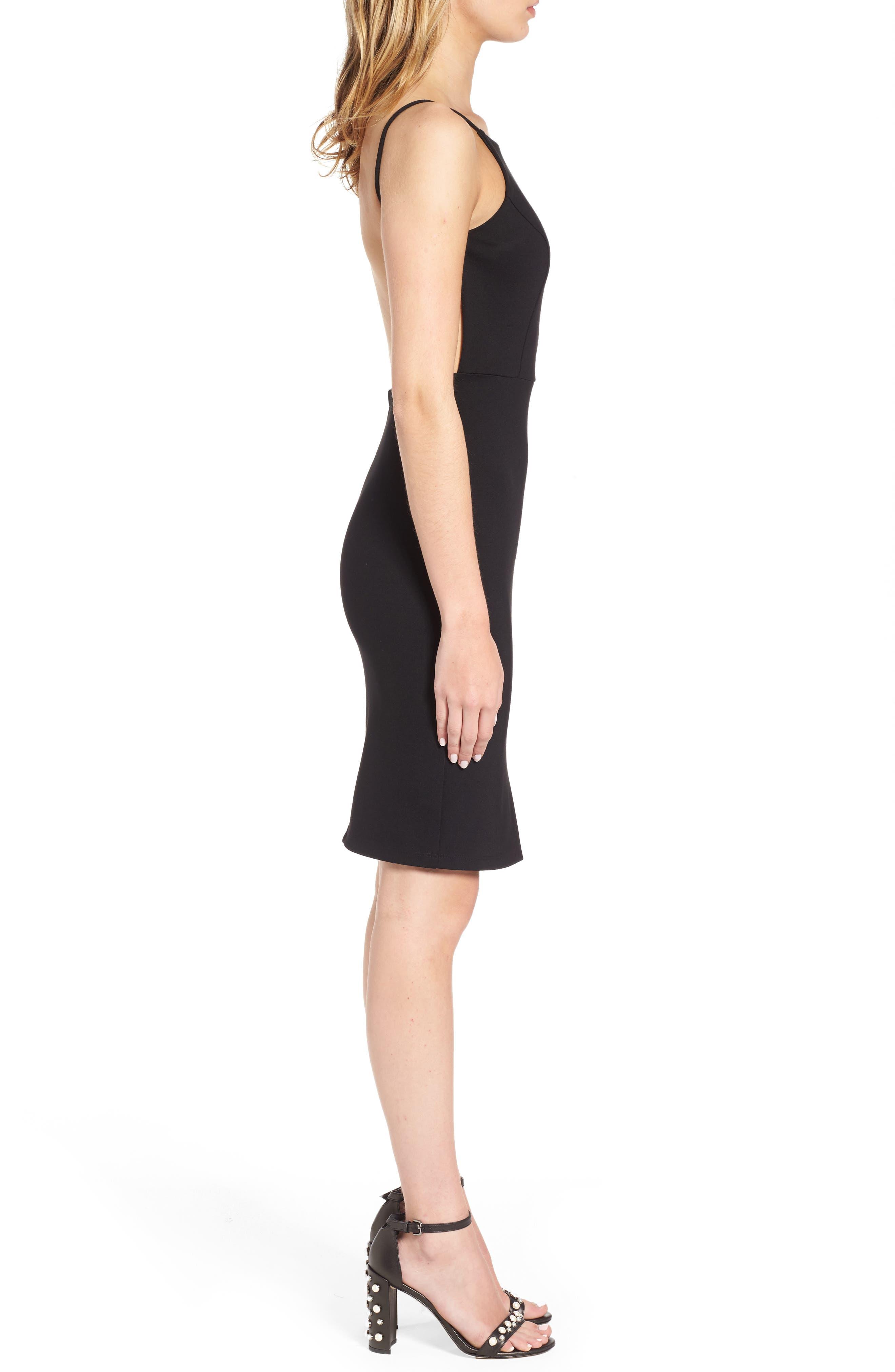 Open Back Body-Con Dress,                             Alternate thumbnail 3, color,                             001