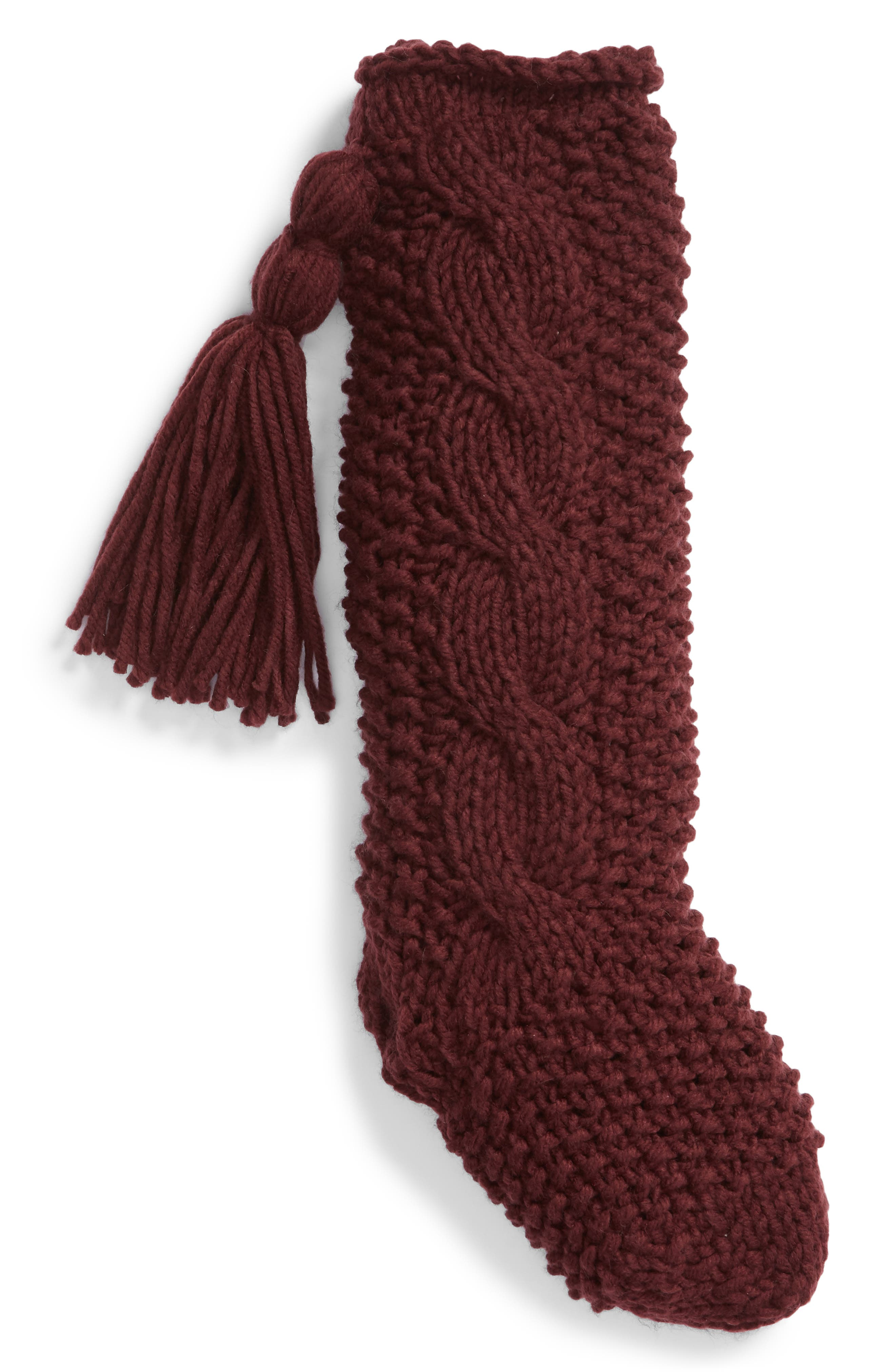 Cable Knit Stocking,                         Main,                         color, BURGUNDY STEM