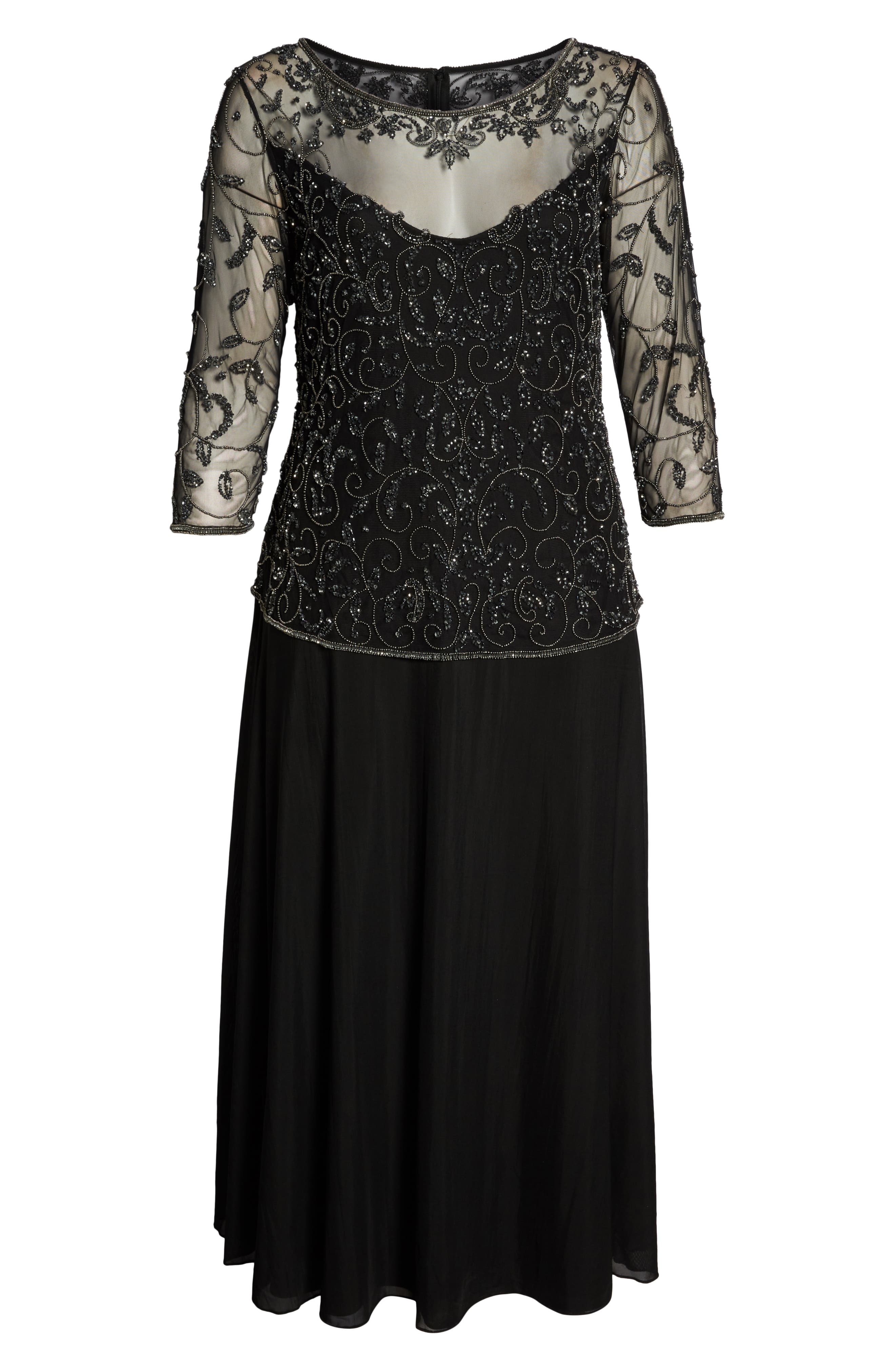 Pissaro Nights Beaded Mesh Mock Two-Piece Gown,                             Alternate thumbnail 7, color,                             BLACK