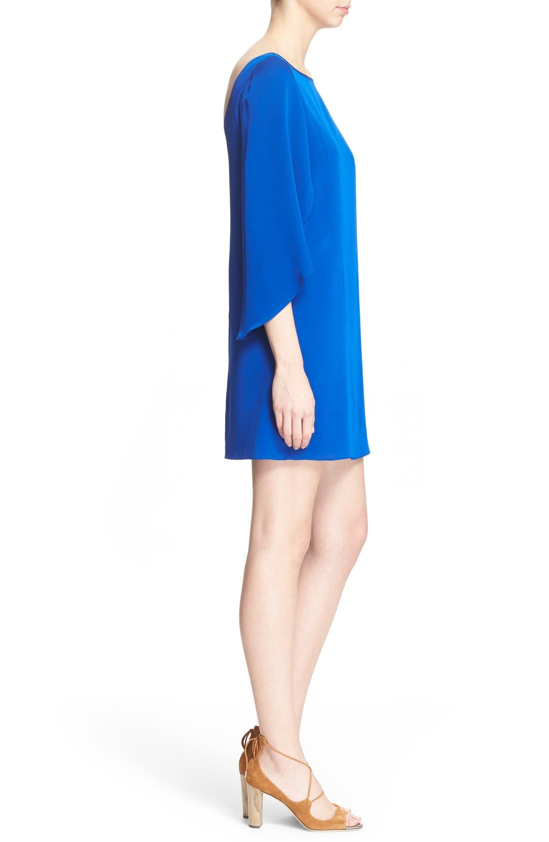 Butterfly Sleeve Stretch Silk Crepe Minidress,                             Alternate thumbnail 18, color,