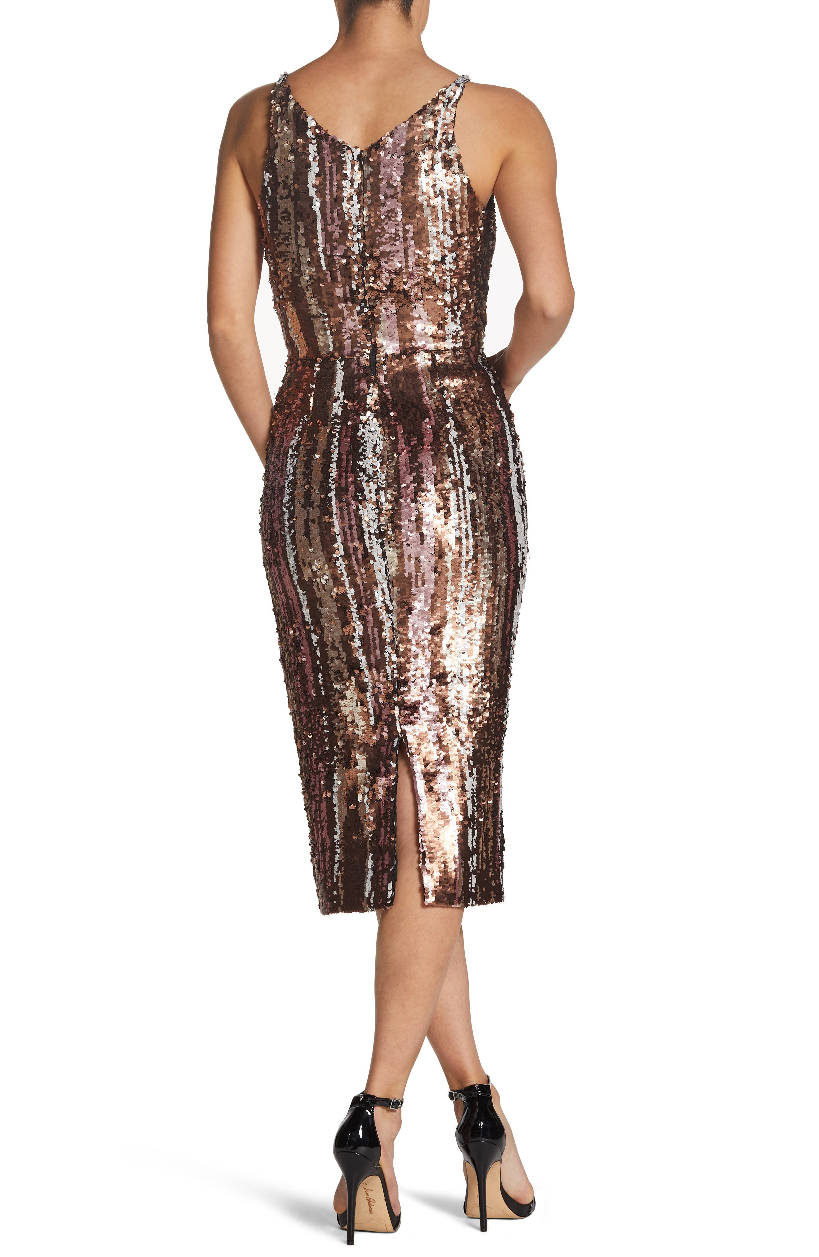 Margo Plunge Neck Sequin Dress,                             Alternate thumbnail 2, color,                             MATTE BRONZE MULTI