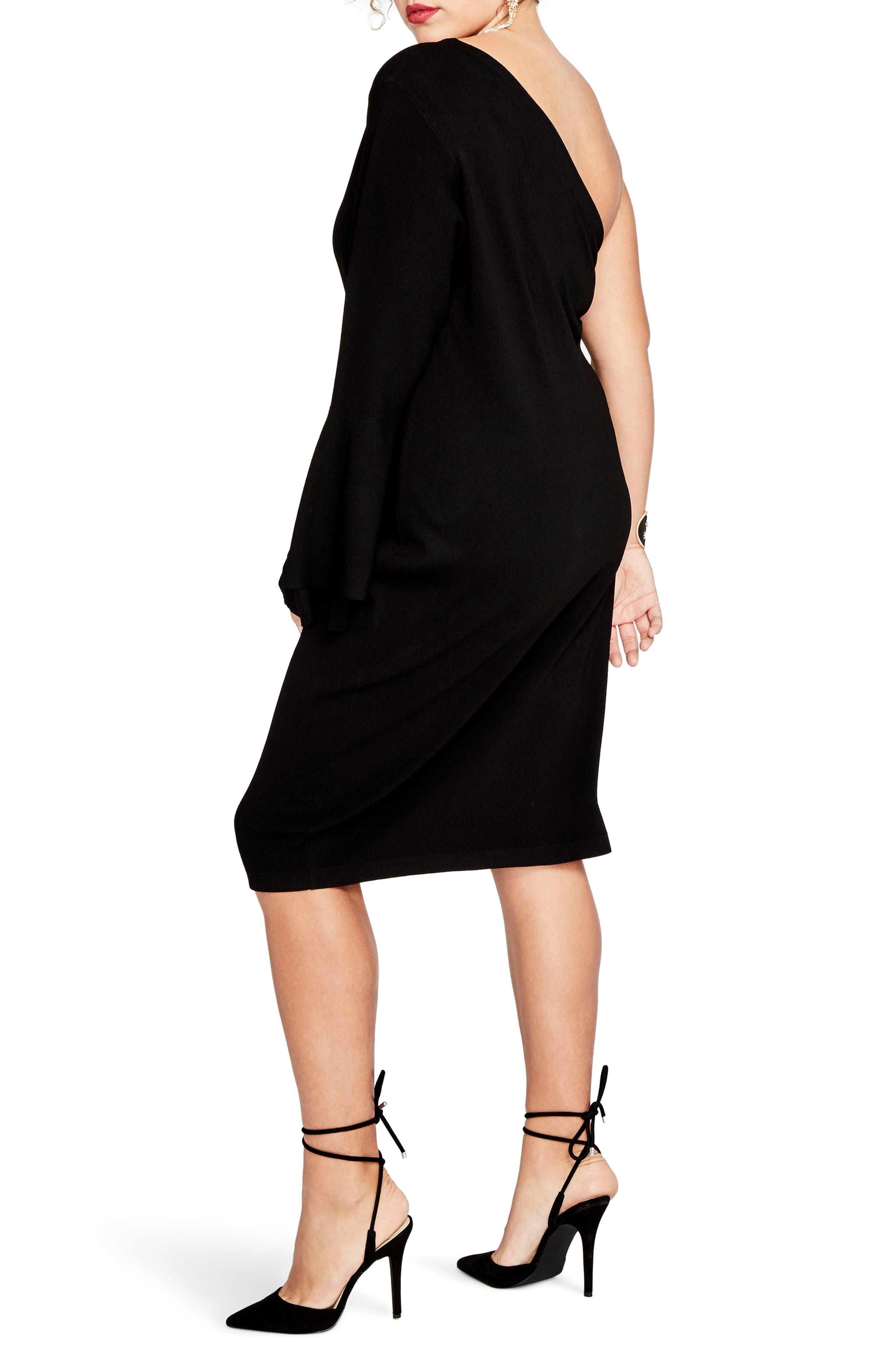 One-Shoulder Knit Sheath Dress,                             Alternate thumbnail 5, color,