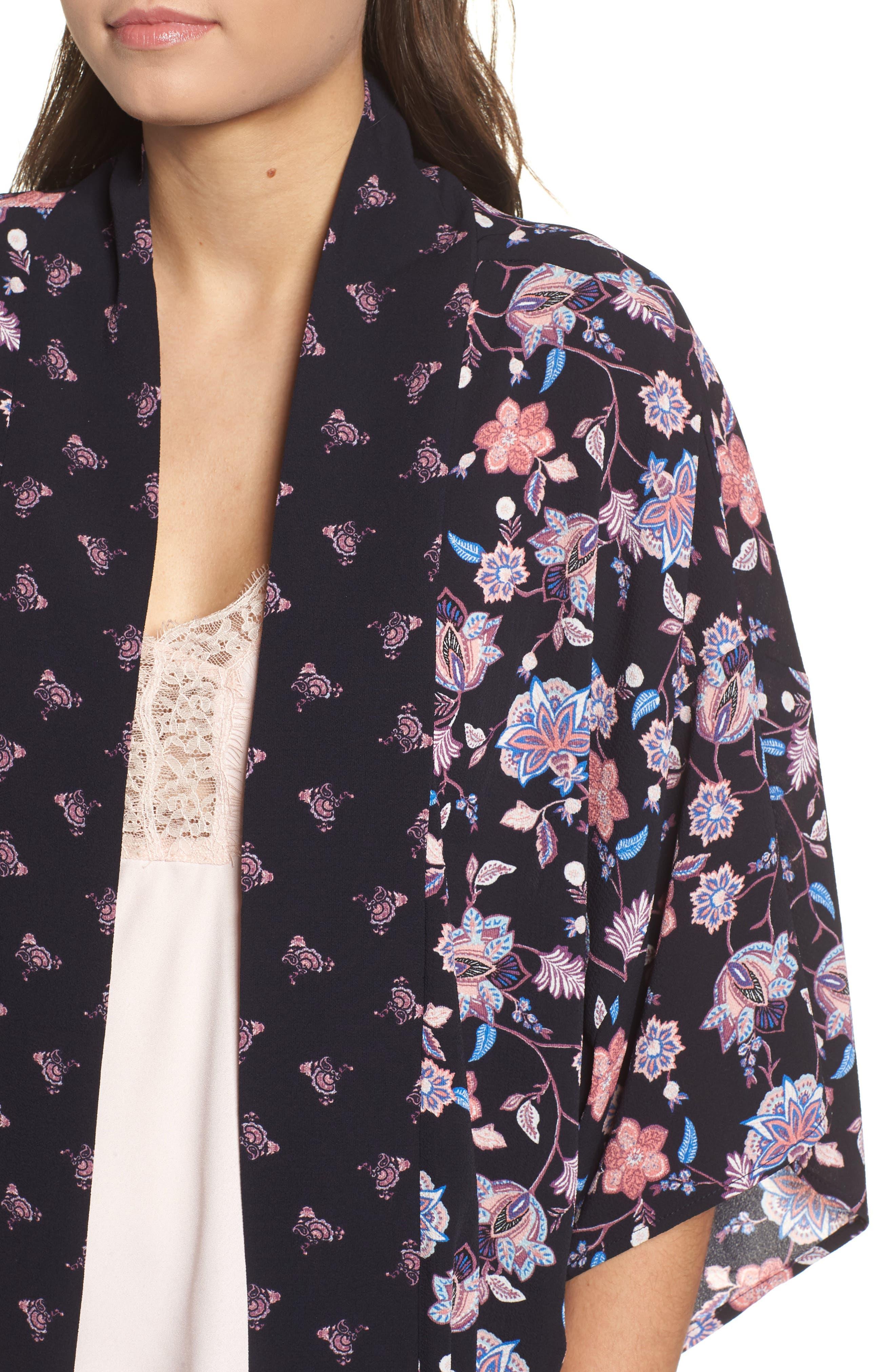Print Kimono,                             Alternate thumbnail 4, color,                             NAVY COMBO