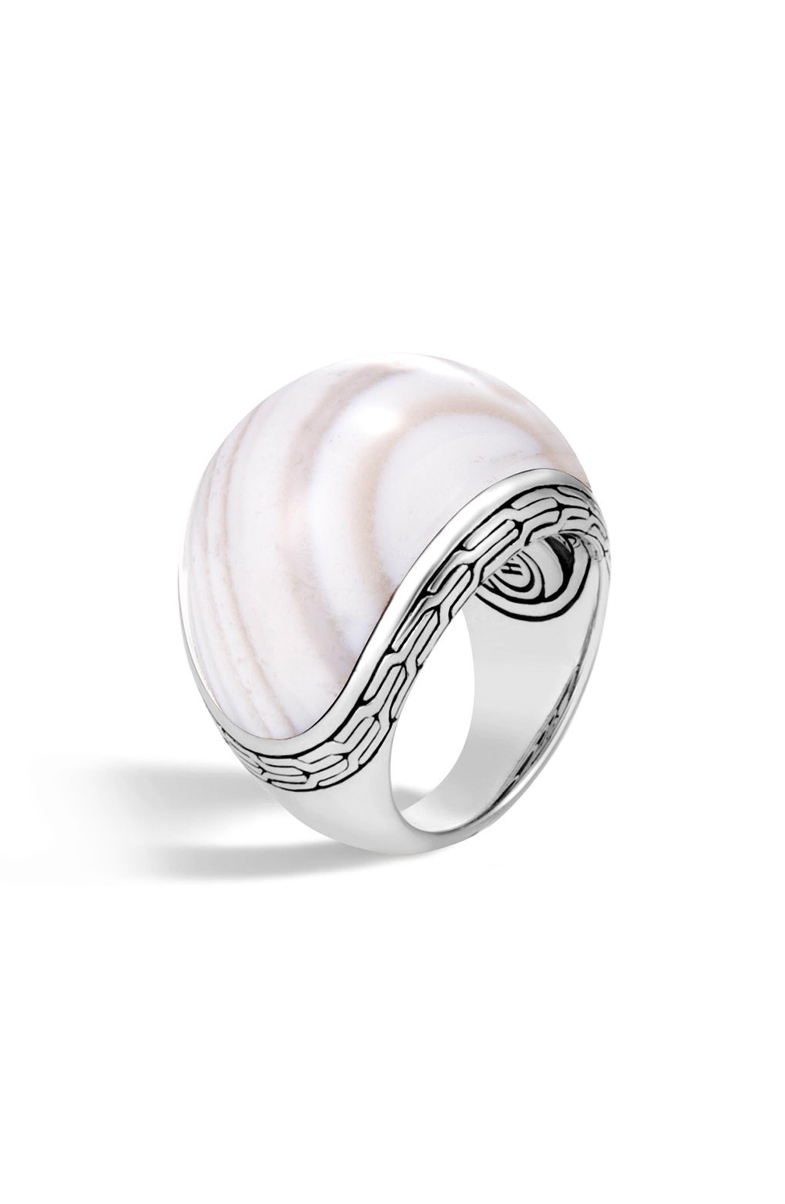 Classic Silver Chain Dome Ring,                         Main,                         color, SILVER/ WHITE AGATE