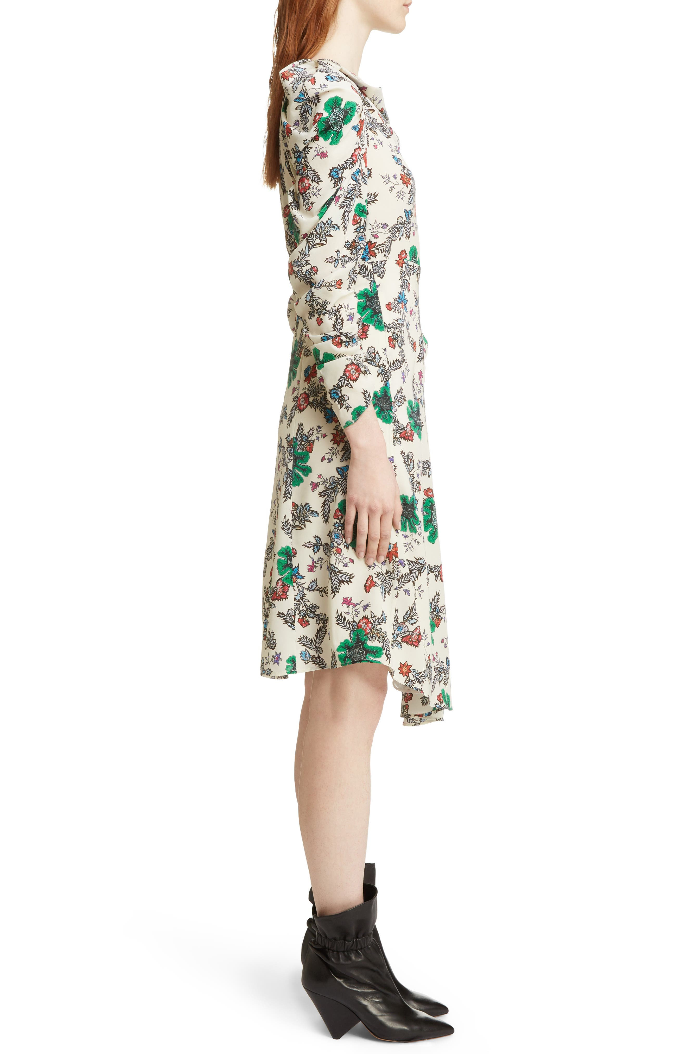 Carley Ruched Sleeve Silk Blend Dress,                             Alternate thumbnail 3, color,                             900