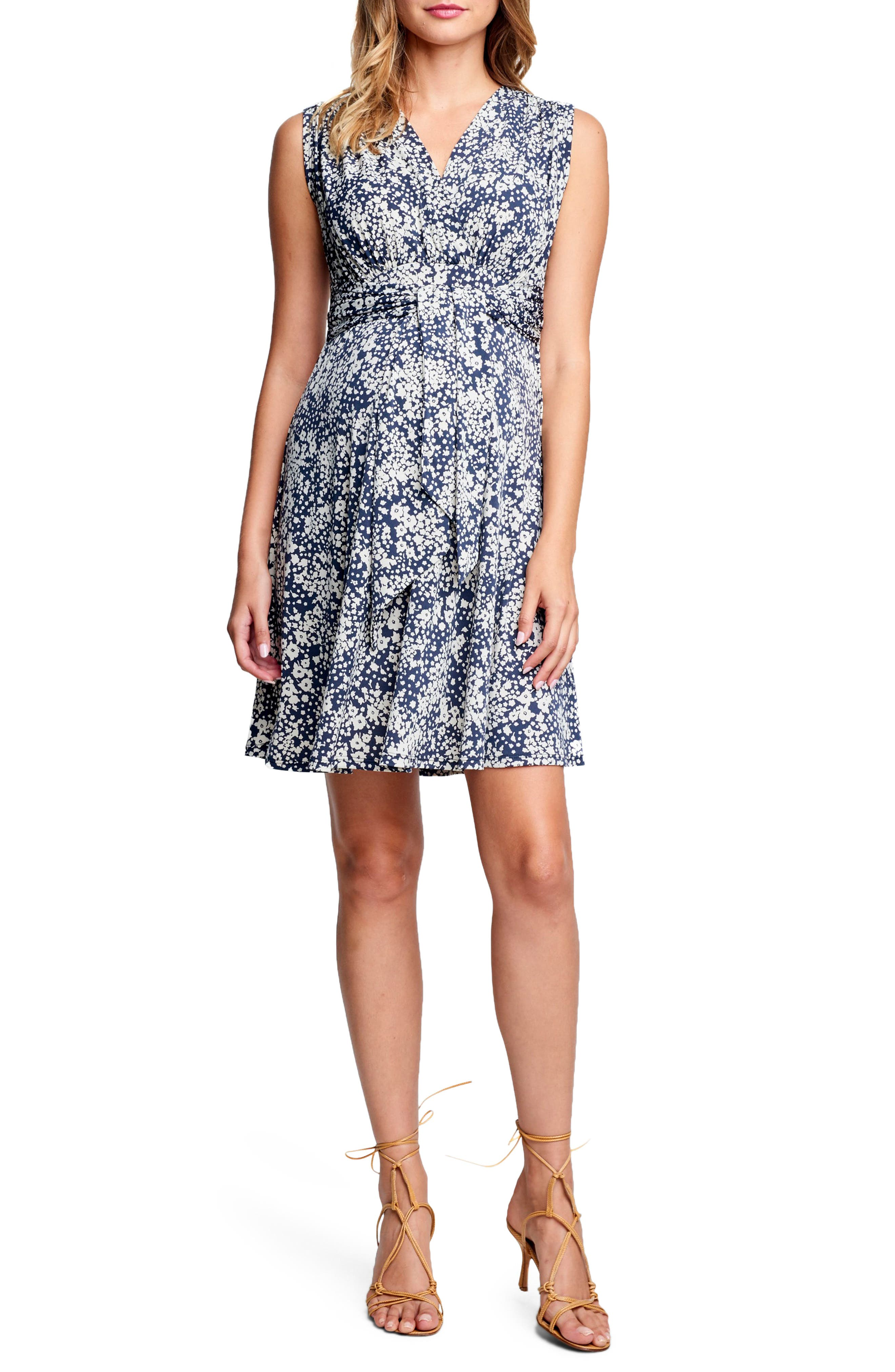 Tie Front Maternity Dress,                             Main thumbnail 1, color,                             DITSY FLORAL
