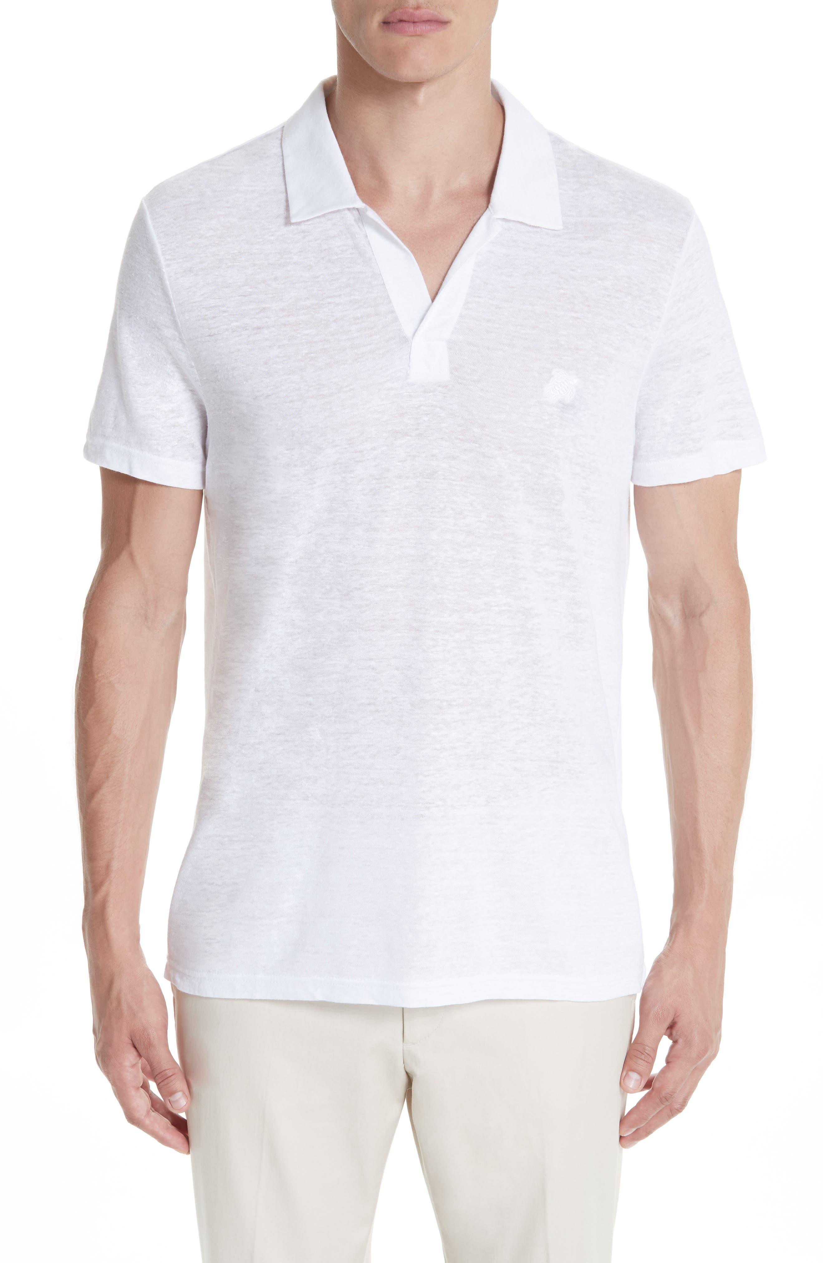 Jersey Linen Johnny Collar Polo,                             Main thumbnail 1, color,                             WHITE