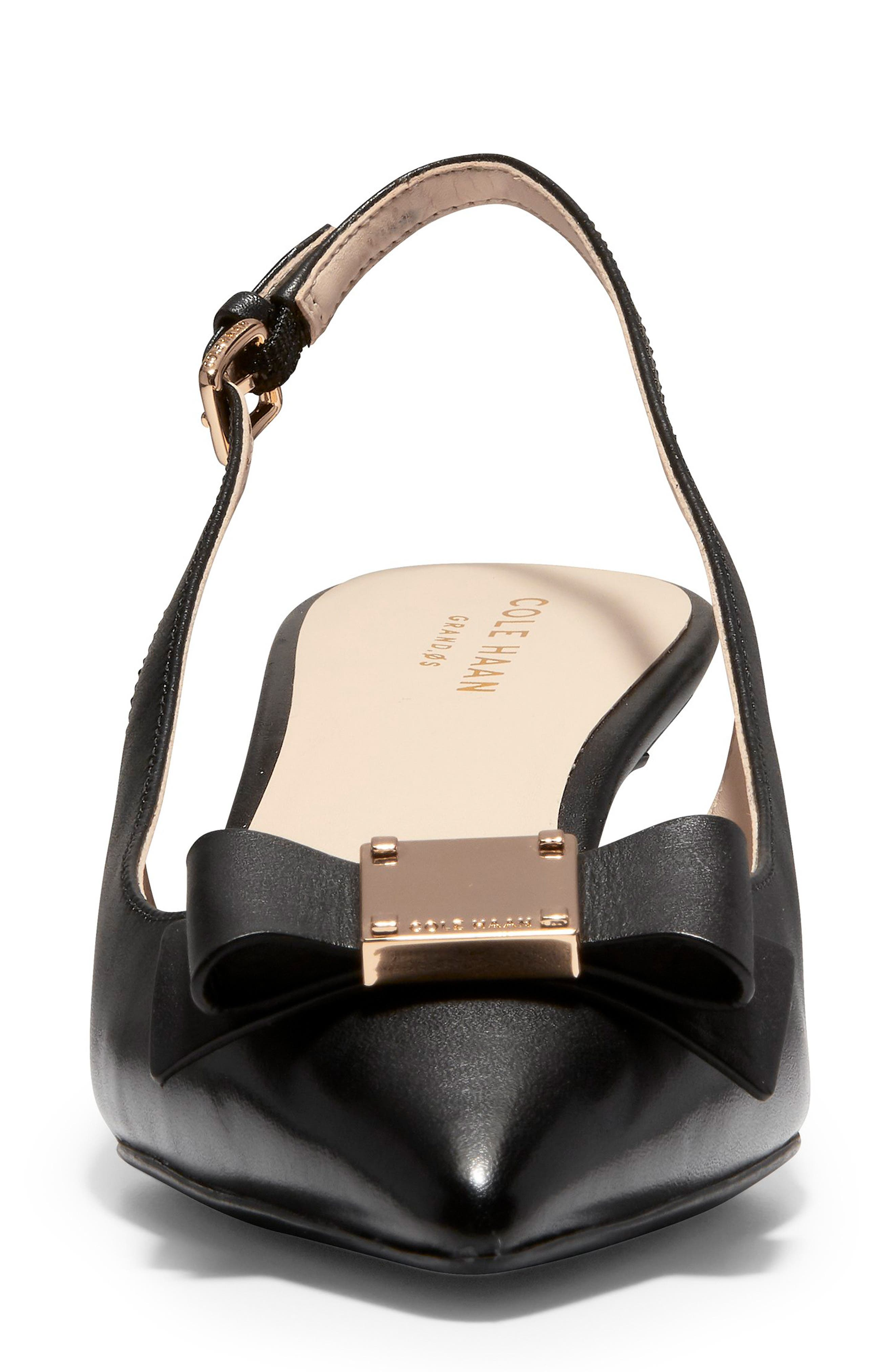 COLE HAAN,                             Tali Bow Slingback Pump,                             Alternate thumbnail 4, color,                             BLACK LEATHER