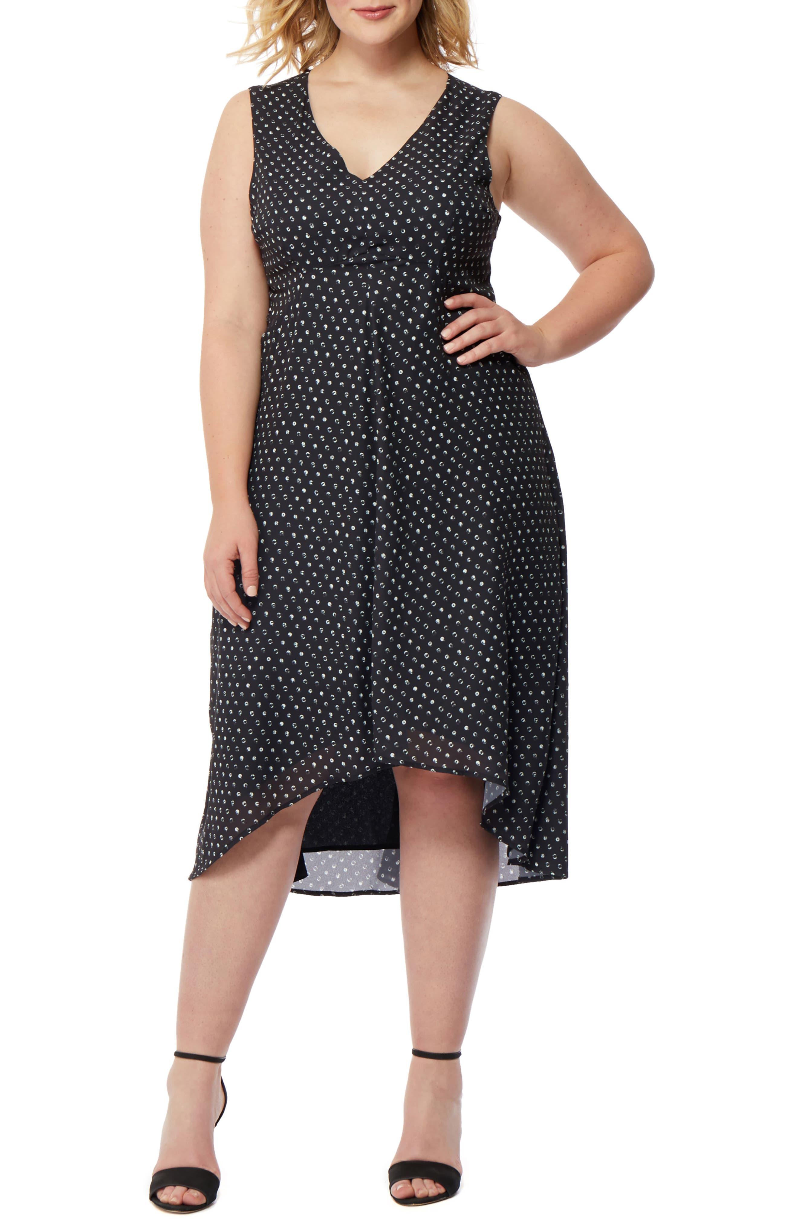Print High/Low Dress,                         Main,                         color, MINI POLKA DOT