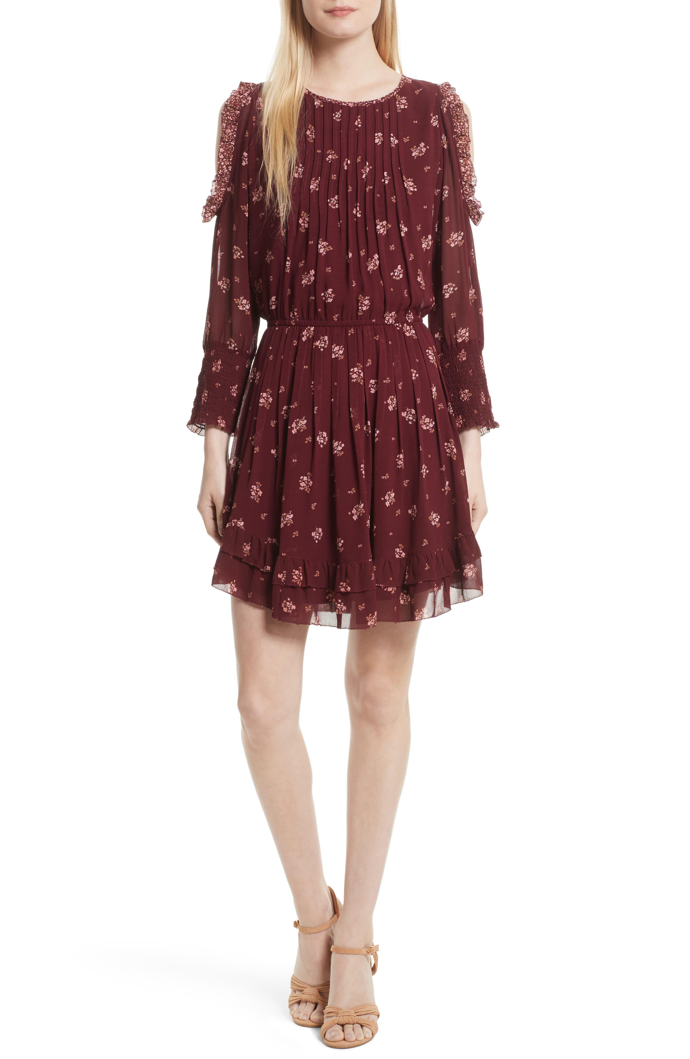 Arleth Cold Shoulder Silk Dress,                             Main thumbnail 1, color,                             641
