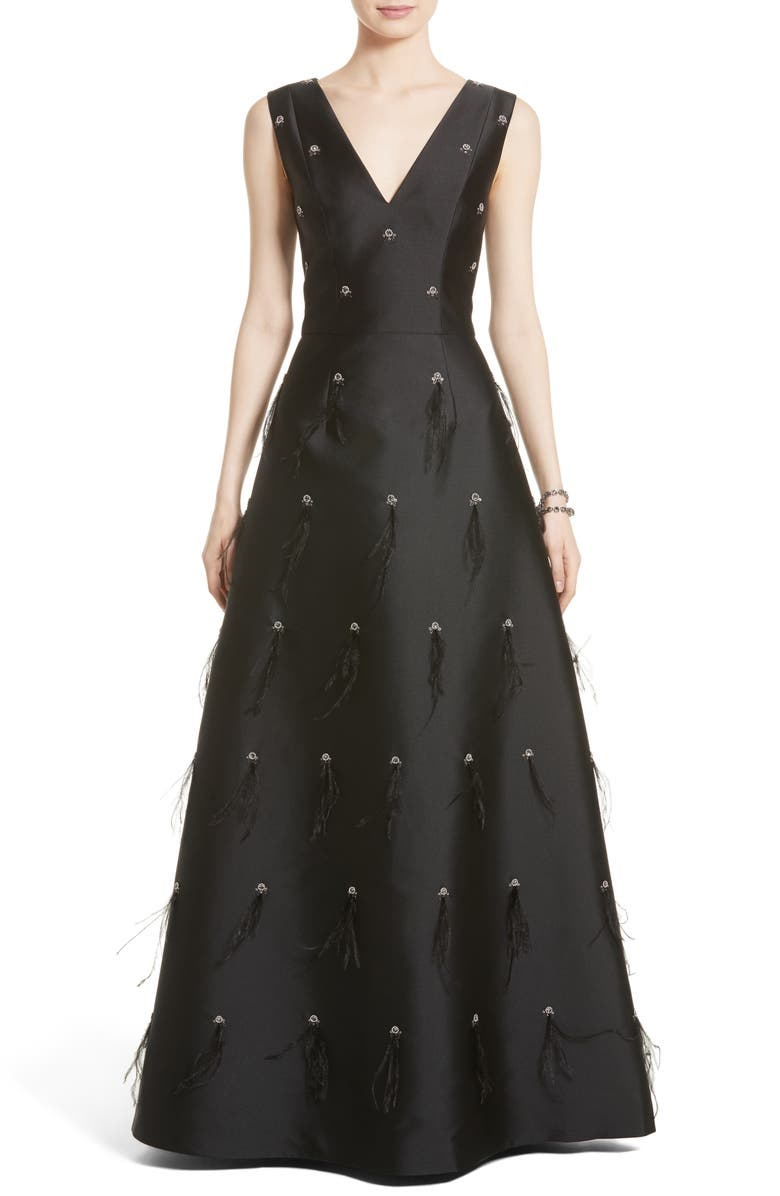 St. John Collection Hand Beaded Mikado Gown   Nordstrom