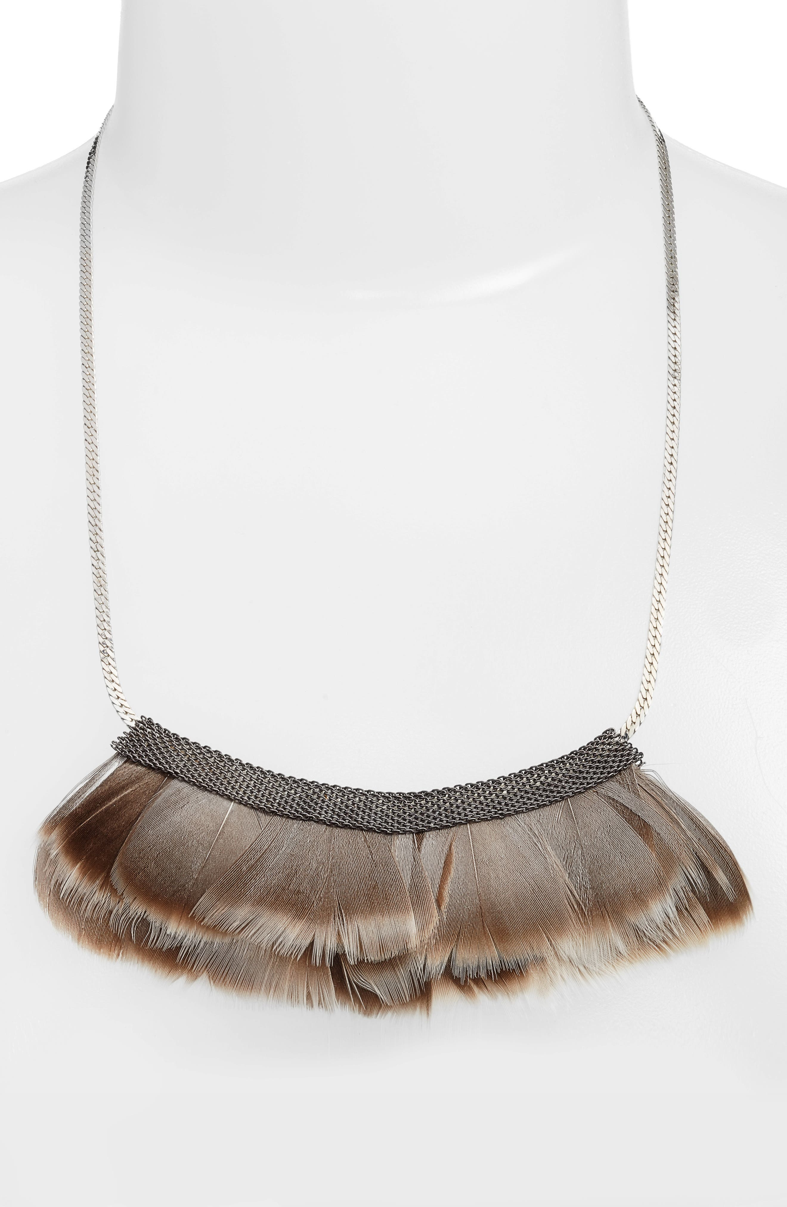 Feather Bib Necklace,                             Alternate thumbnail 2, color,                             040