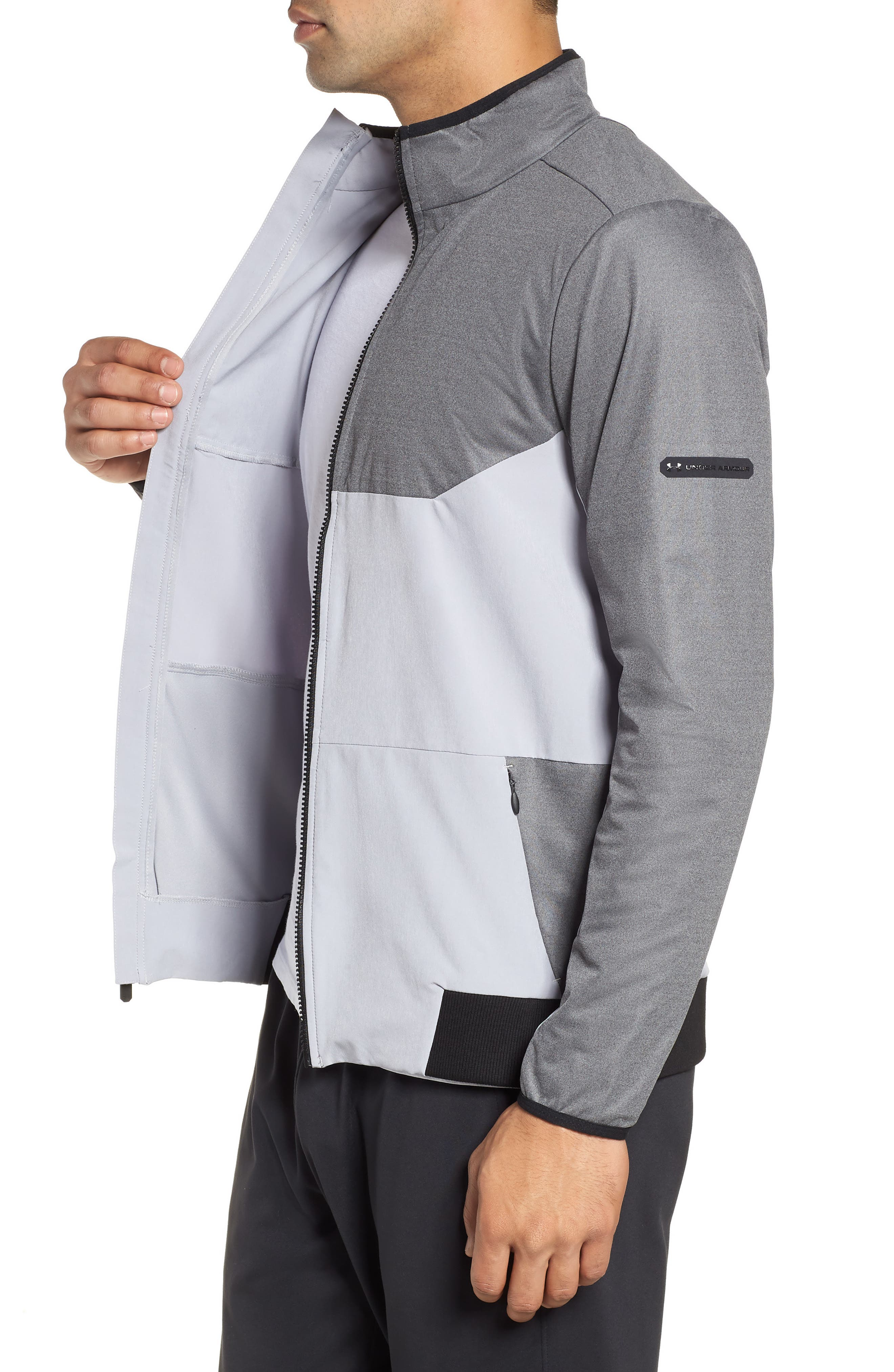 Gore<sup>®</sup> Windstopper<sup>®</sup> Full Zip Jacket,                             Alternate thumbnail 3, color,                             CHARCOAL / OVERCAST