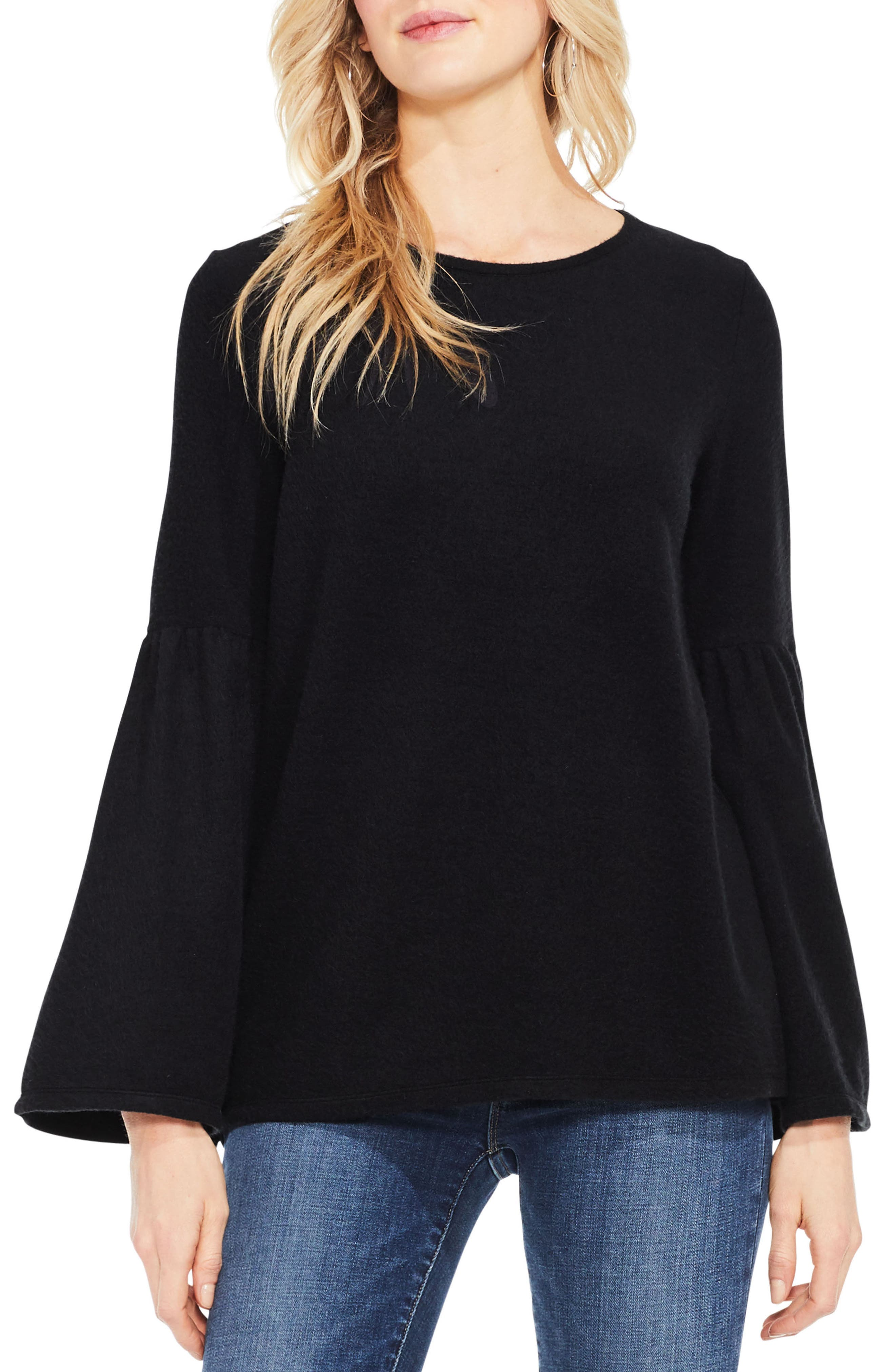 Vince Camuto Ruched Bell Sleeve Fleece Top,                             Main thumbnail 1, color,                             006
