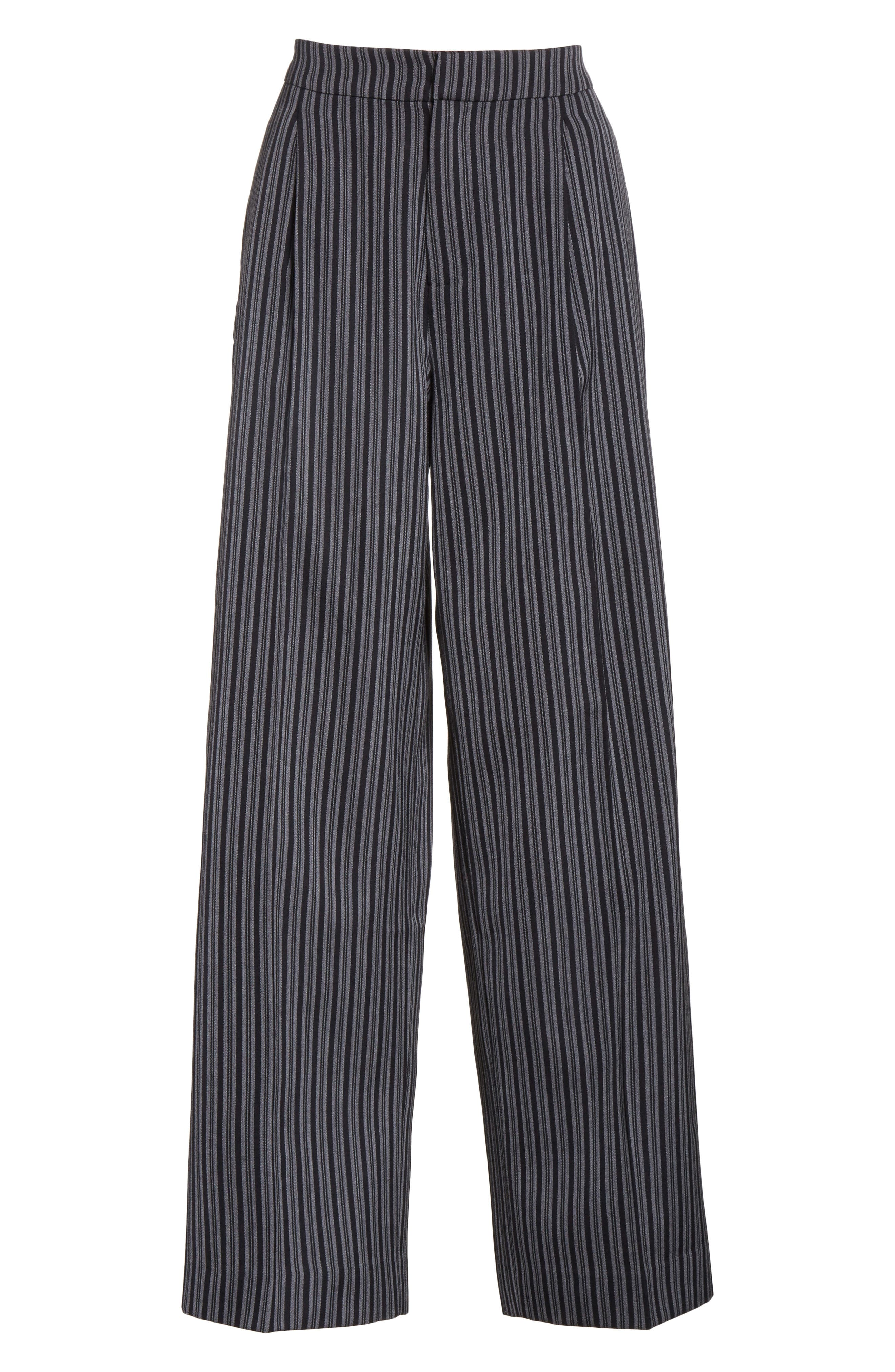 Pinstripe Pleated Wide Leg Wool Pants,                             Alternate thumbnail 6, color,