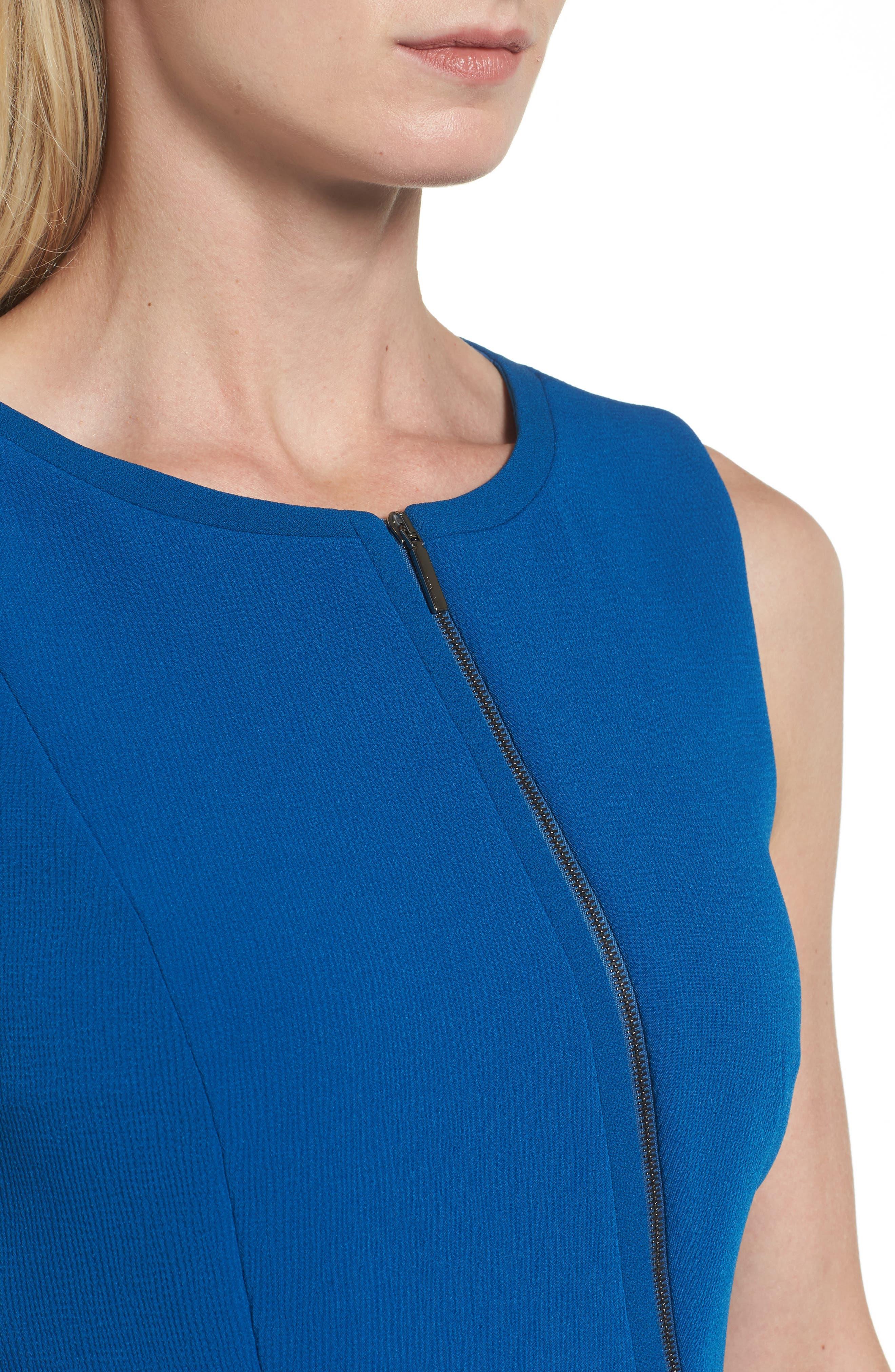 Danafea Zip Detail Sheath Dress,                             Alternate thumbnail 4, color,                             424