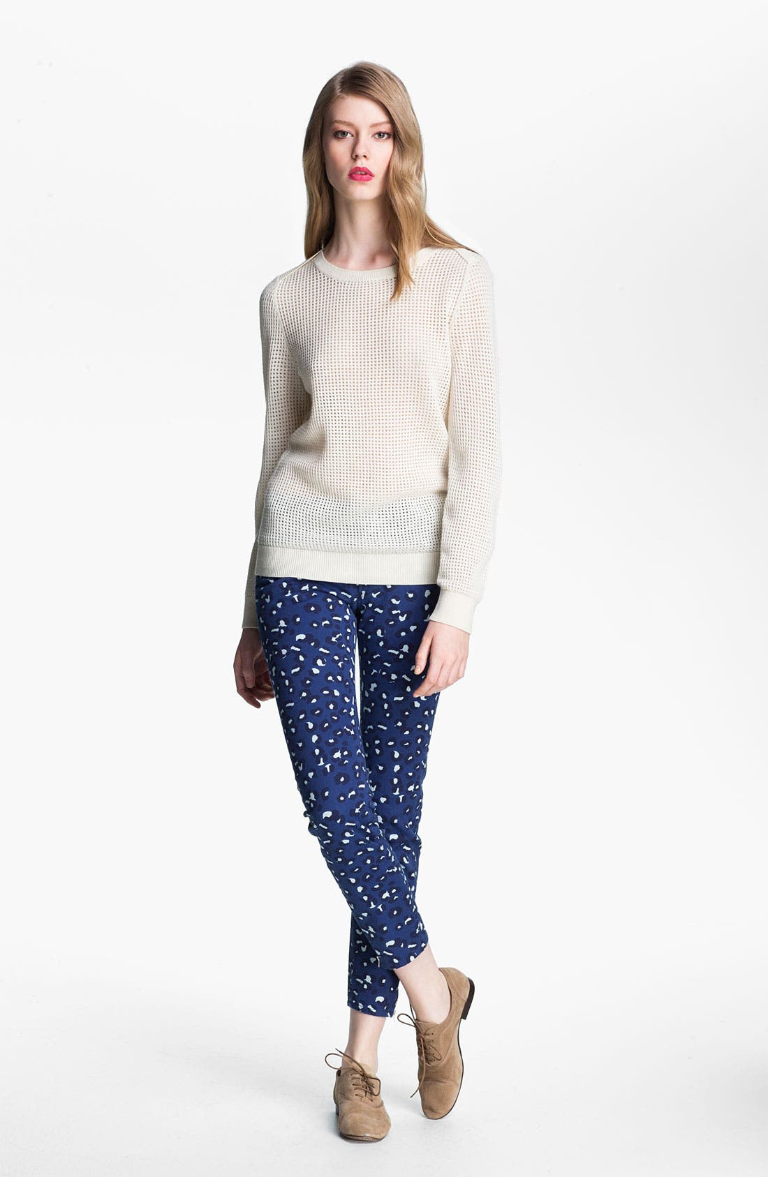 Perforated Wool Sweater,                             Alternate thumbnail 2, color,