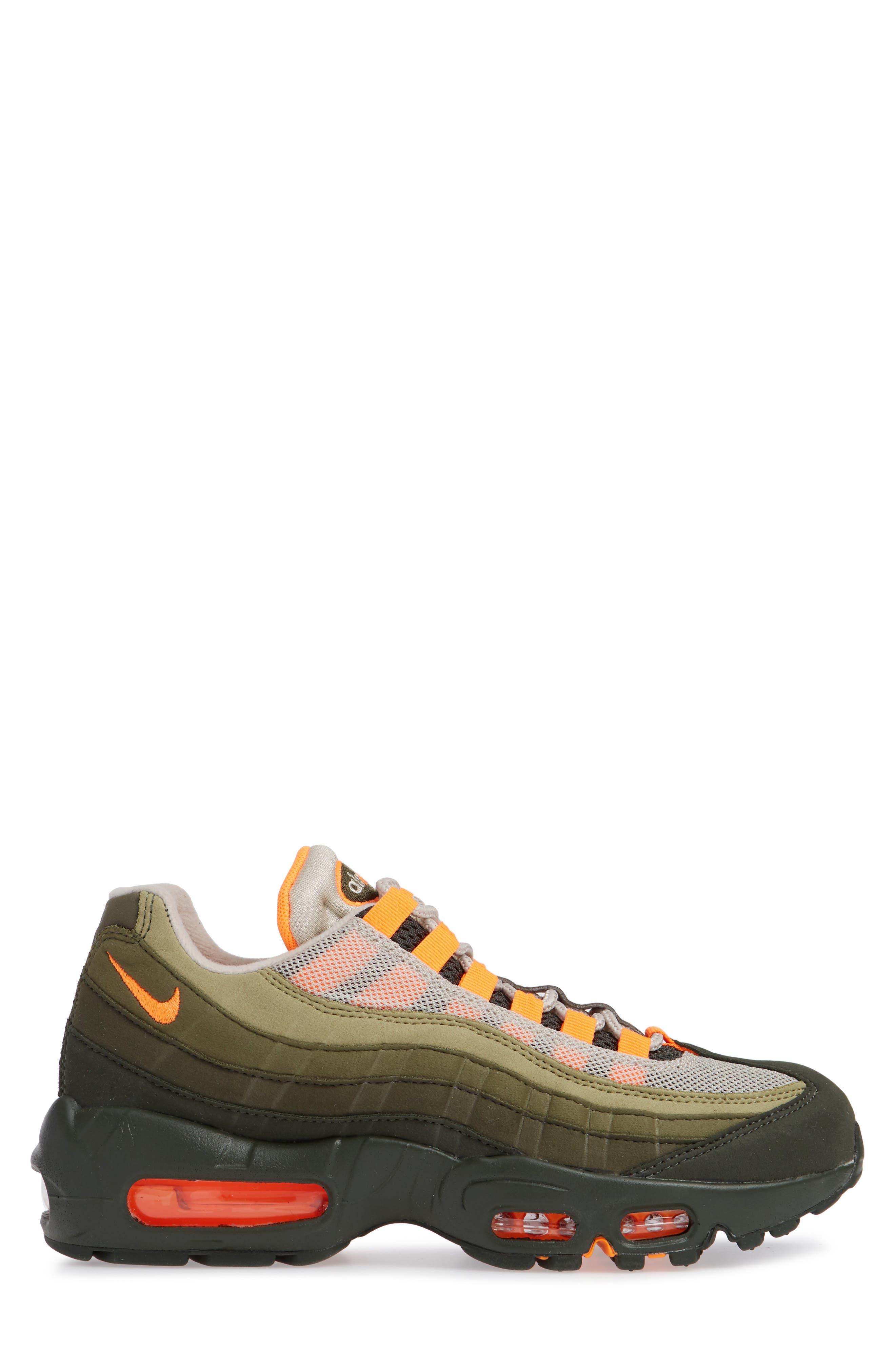 Air Max 95 OG Sneaker,                             Alternate thumbnail 3, color,                             STRING/ TOTAL ORANGE-NEUTRAL