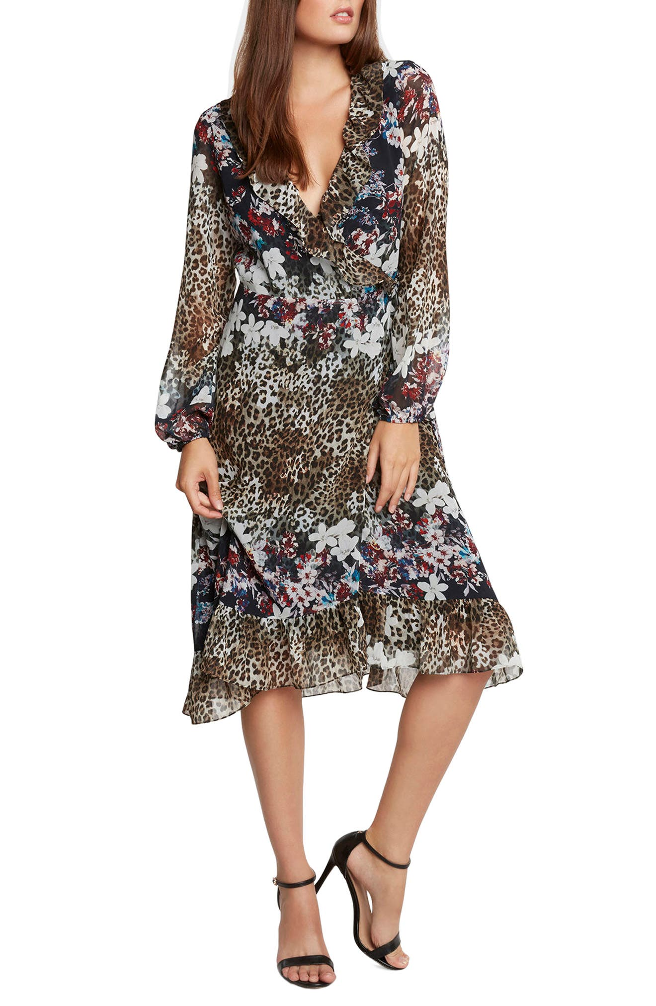 Animal Print Floral Wrap Dress,                         Main,                         color,