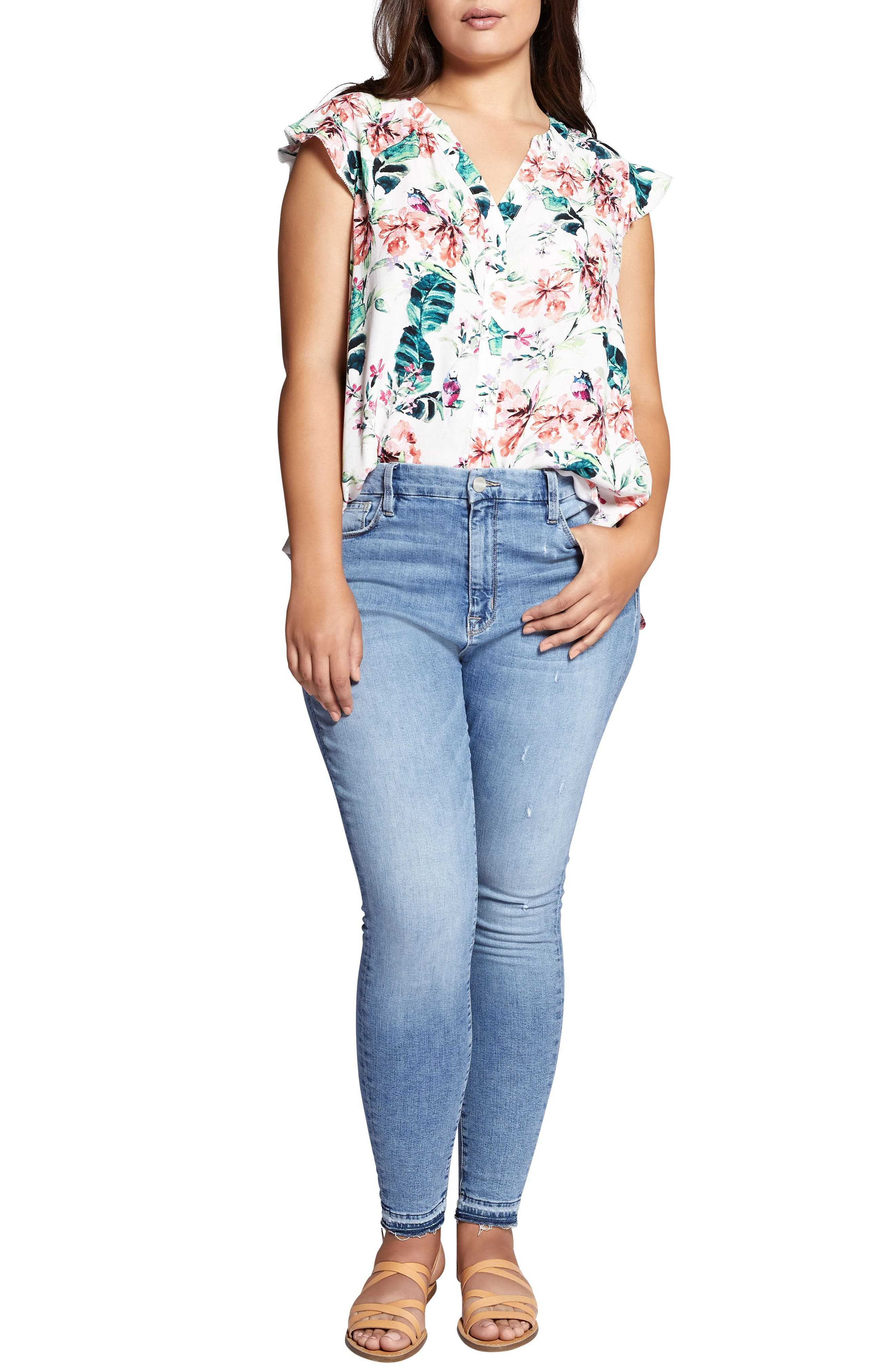 Floral Print Ruffle Top,                             Alternate thumbnail 4, color,                             106