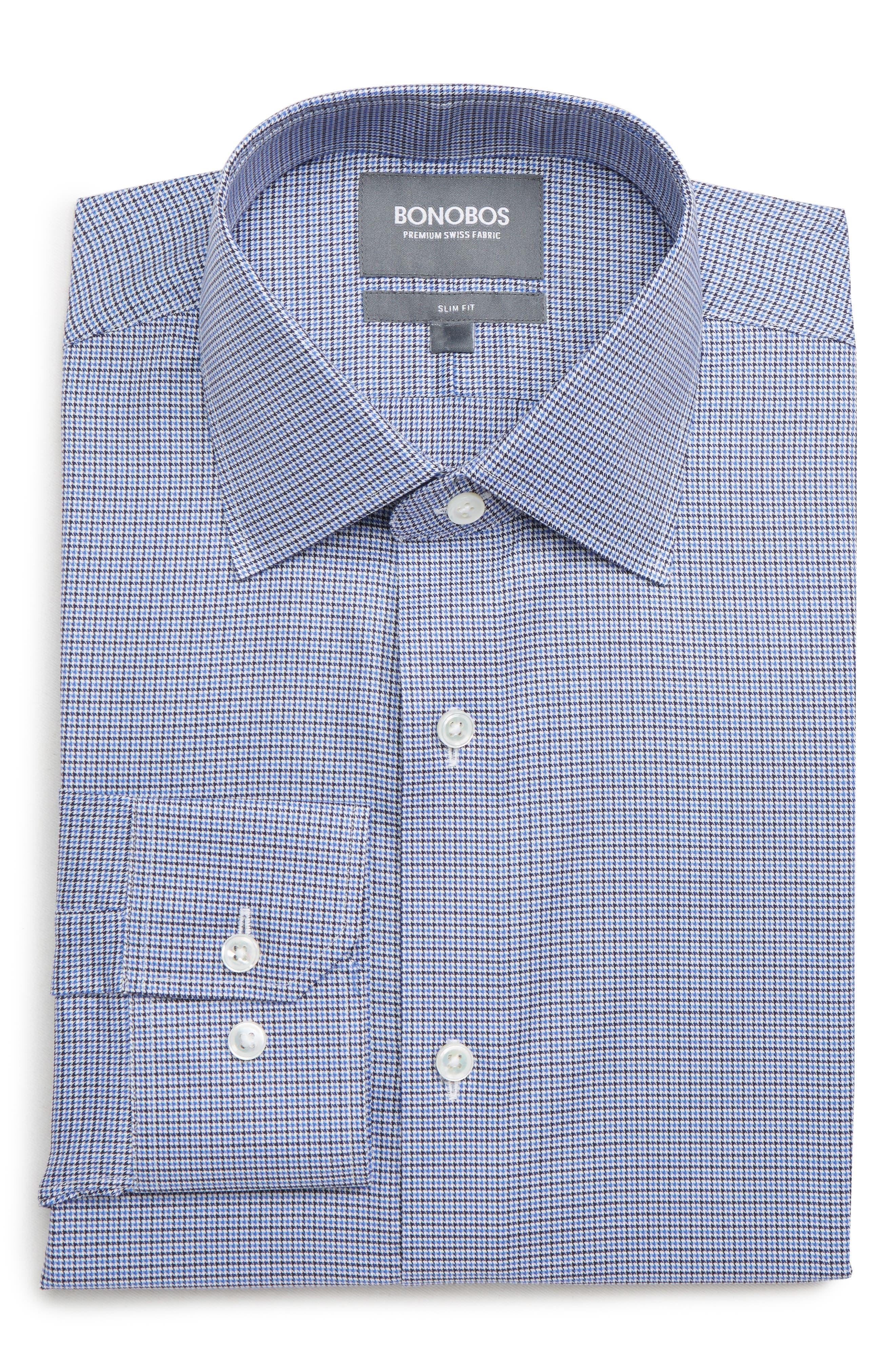 Efford Slim Fit Check Dress Shirt,                         Main,                         color, MARINE
