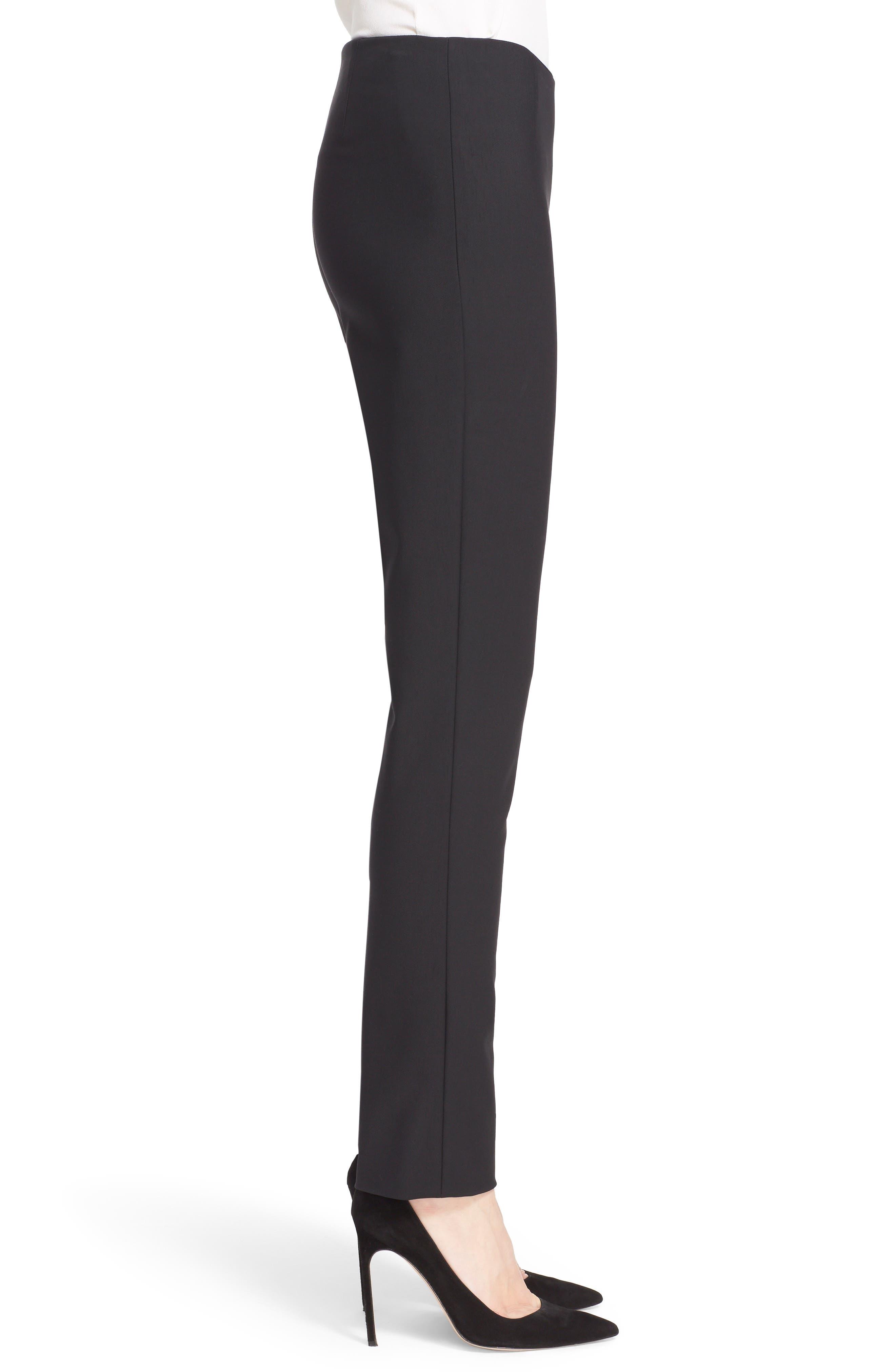 LELA ROSE,                             'Catherine' Stretch Twill Ankle Pants,                             Alternate thumbnail 3, color,                             BLACK