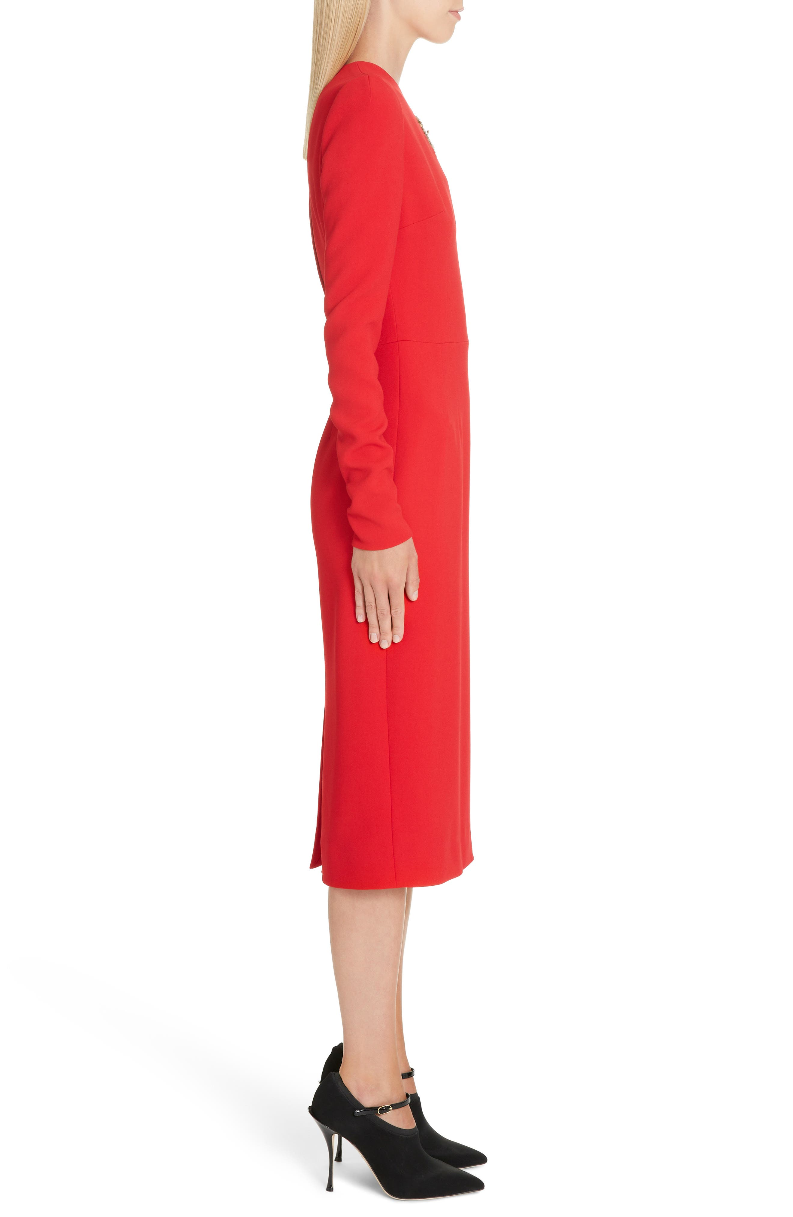 DOLCE&GABBANA,                             Sacred Heart Patch Cady Pencil Dress,                             Alternate thumbnail 3, color,                             RED