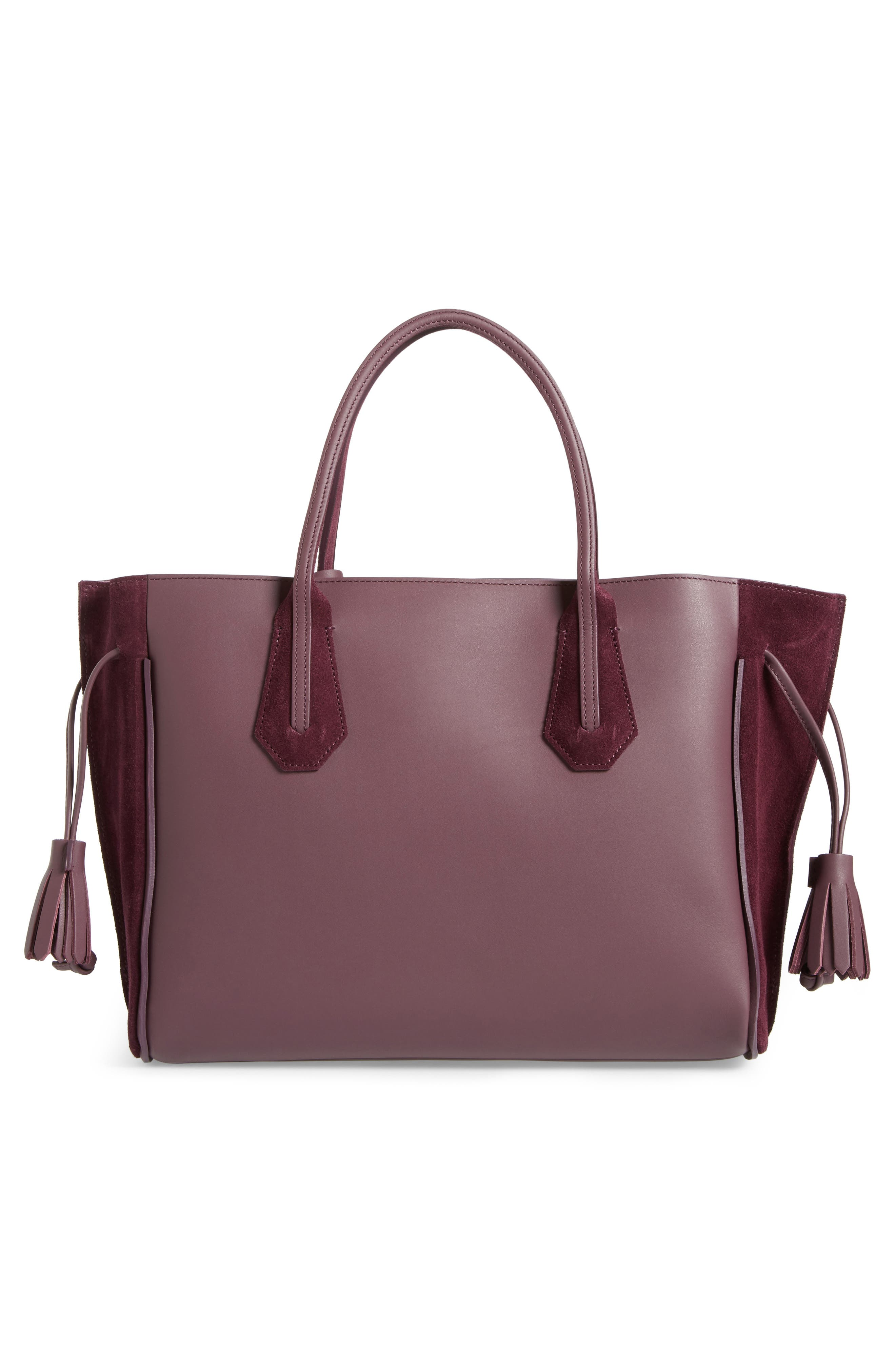 Penelope Leather & Suede Top Handle Tote,                             Alternate thumbnail 3, color,                             500