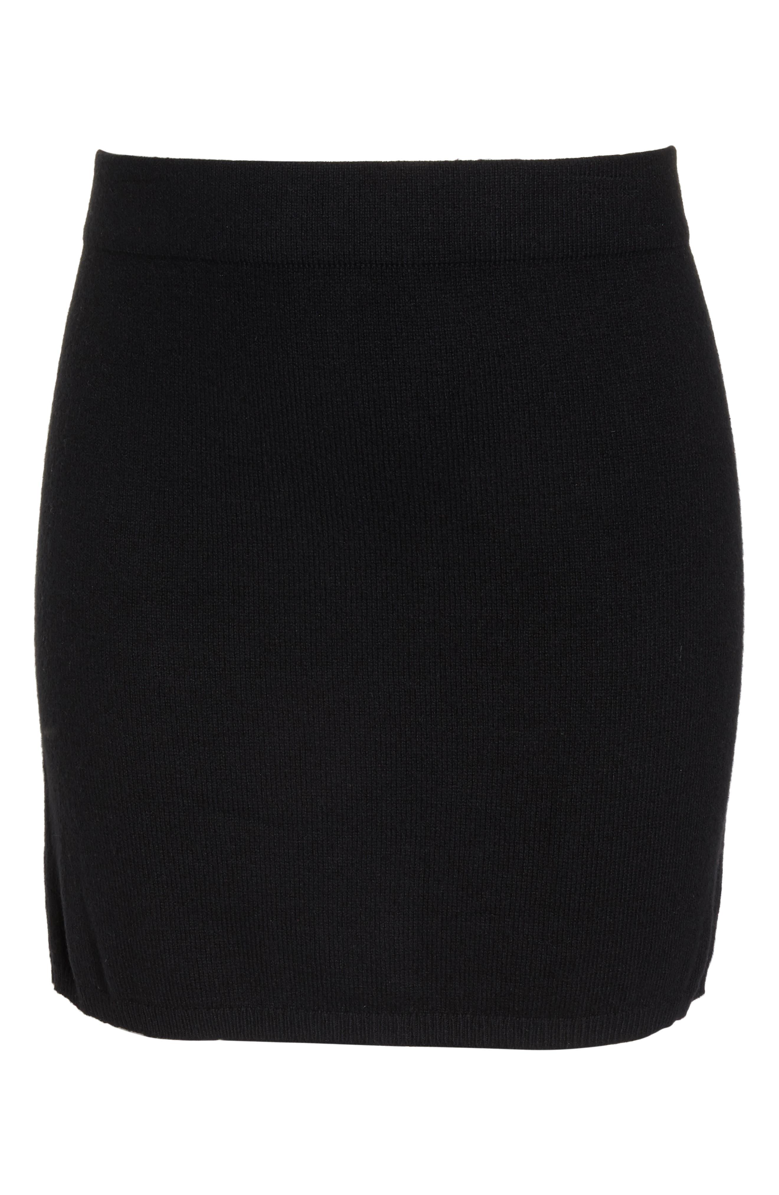 Sweater Miniskirt,                             Alternate thumbnail 6, color,                             BLACK