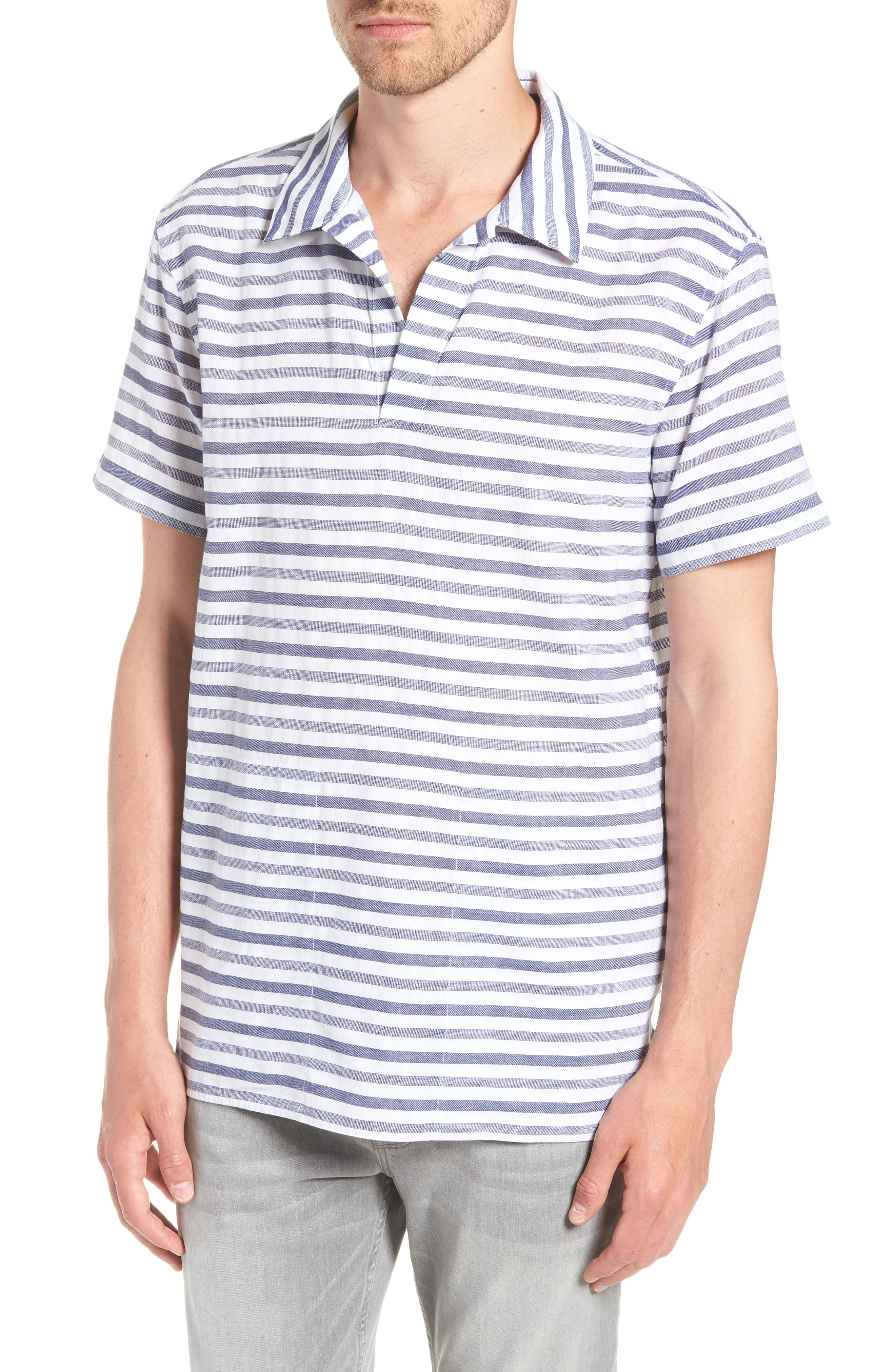 Beach Slim Fit Stripe Cotton & Linen Shirt,                         Main,                         color, 100