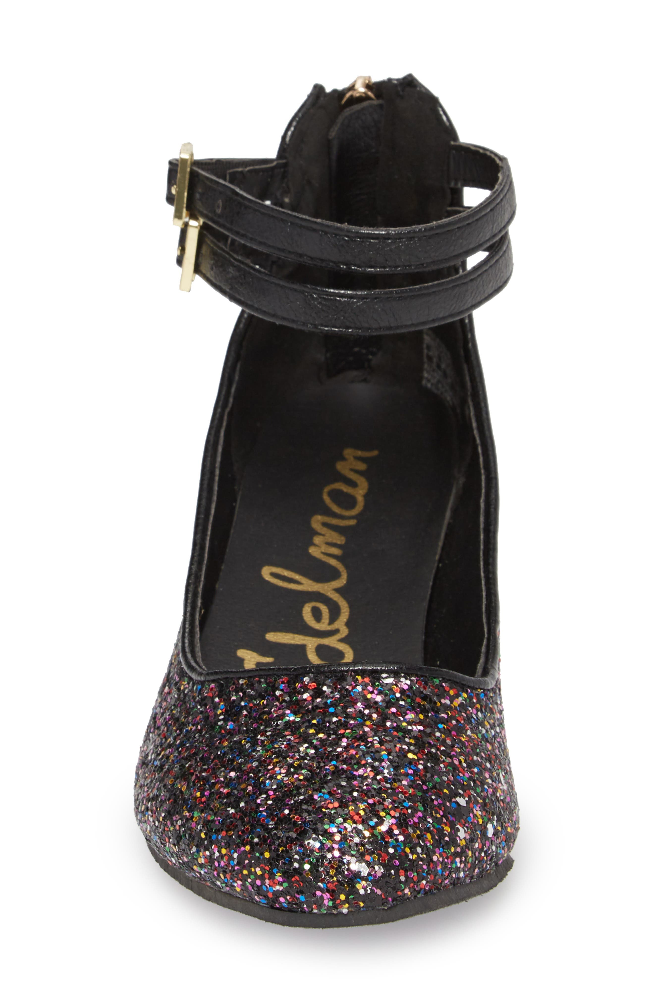 Evelyn Bree Ankle Strap Glitter Pump,                             Alternate thumbnail 4, color,                             001