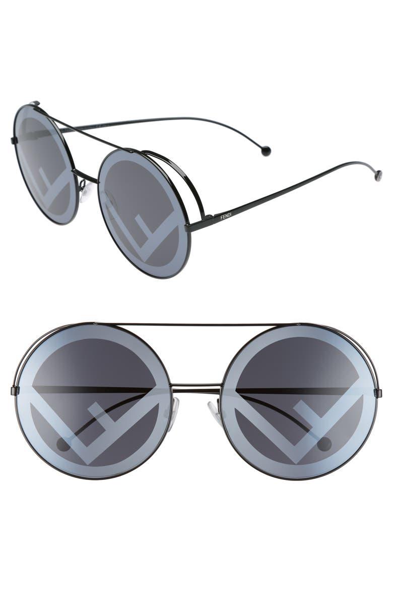 3cbe173481c Fendi Women s Mirrored Oversized Logo Print Lens Round Sunglasses ...