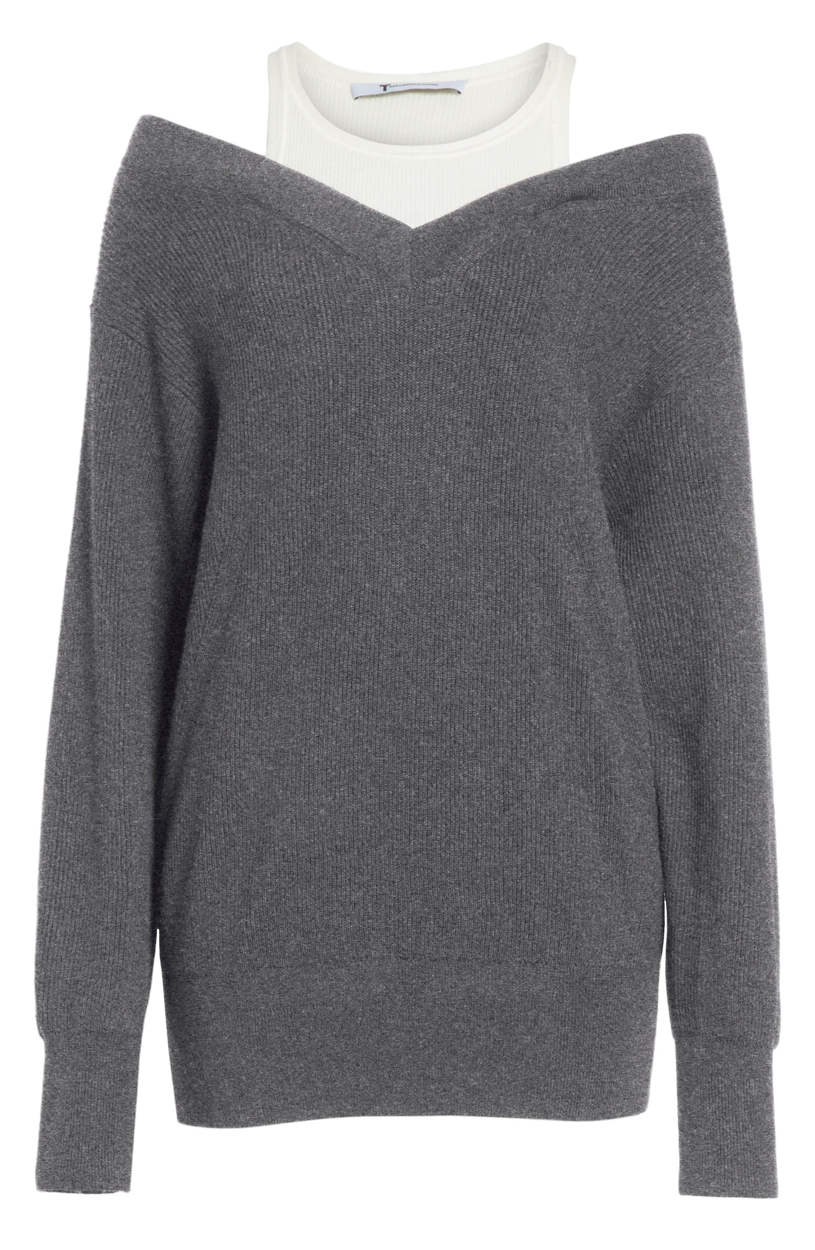 T by Alexander Wang Bi-Layer Off-the-Shoulder Sweater with Inner Tank,                             Alternate thumbnail 6, color,                             091