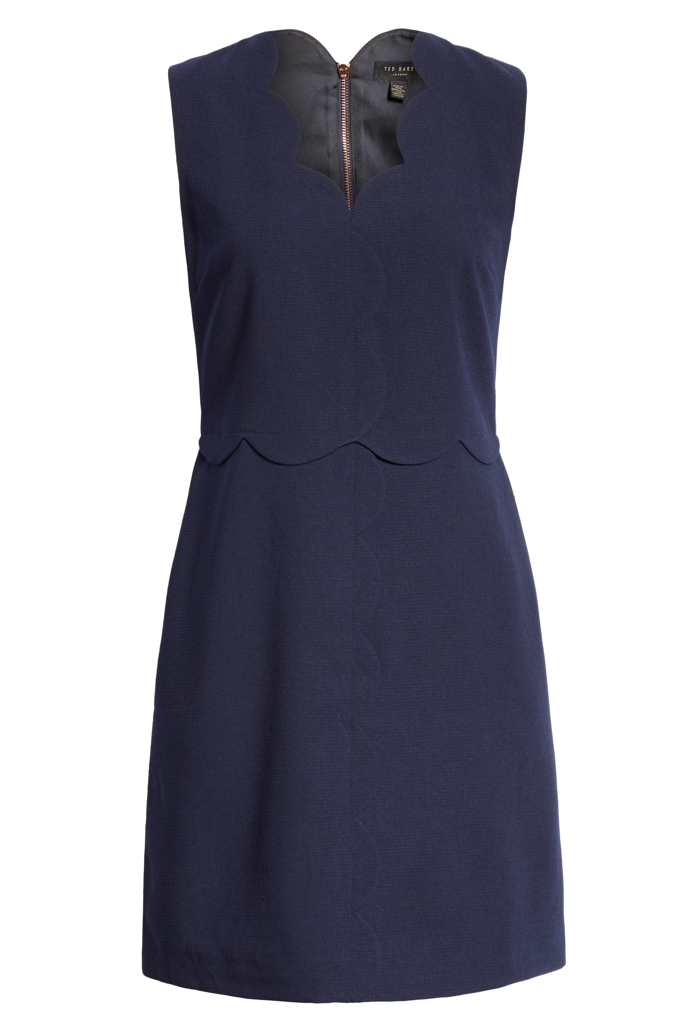 Rubeyed Scallop Edge A-Line Dress,                             Alternate thumbnail 7, color,                             DARK BLUE
