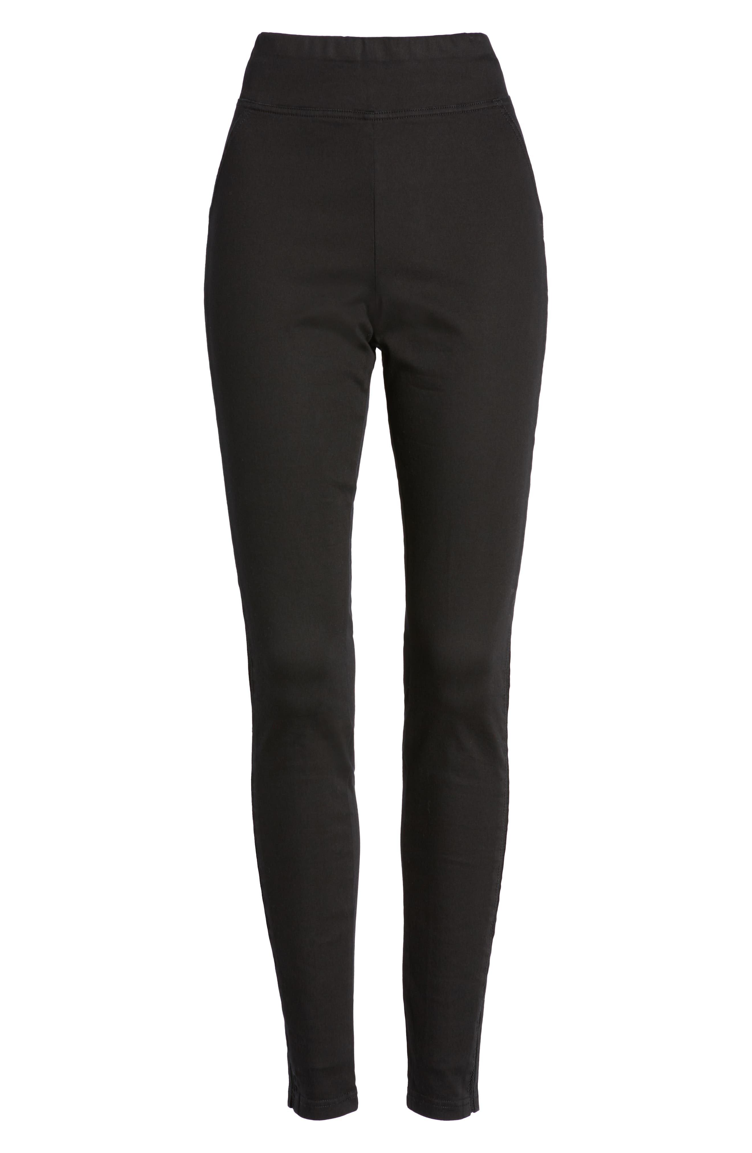HUE,                             High Waist Mesh Tuxedo Stripe Denim Leggings,                             Alternate thumbnail 7, color,                             BLACK