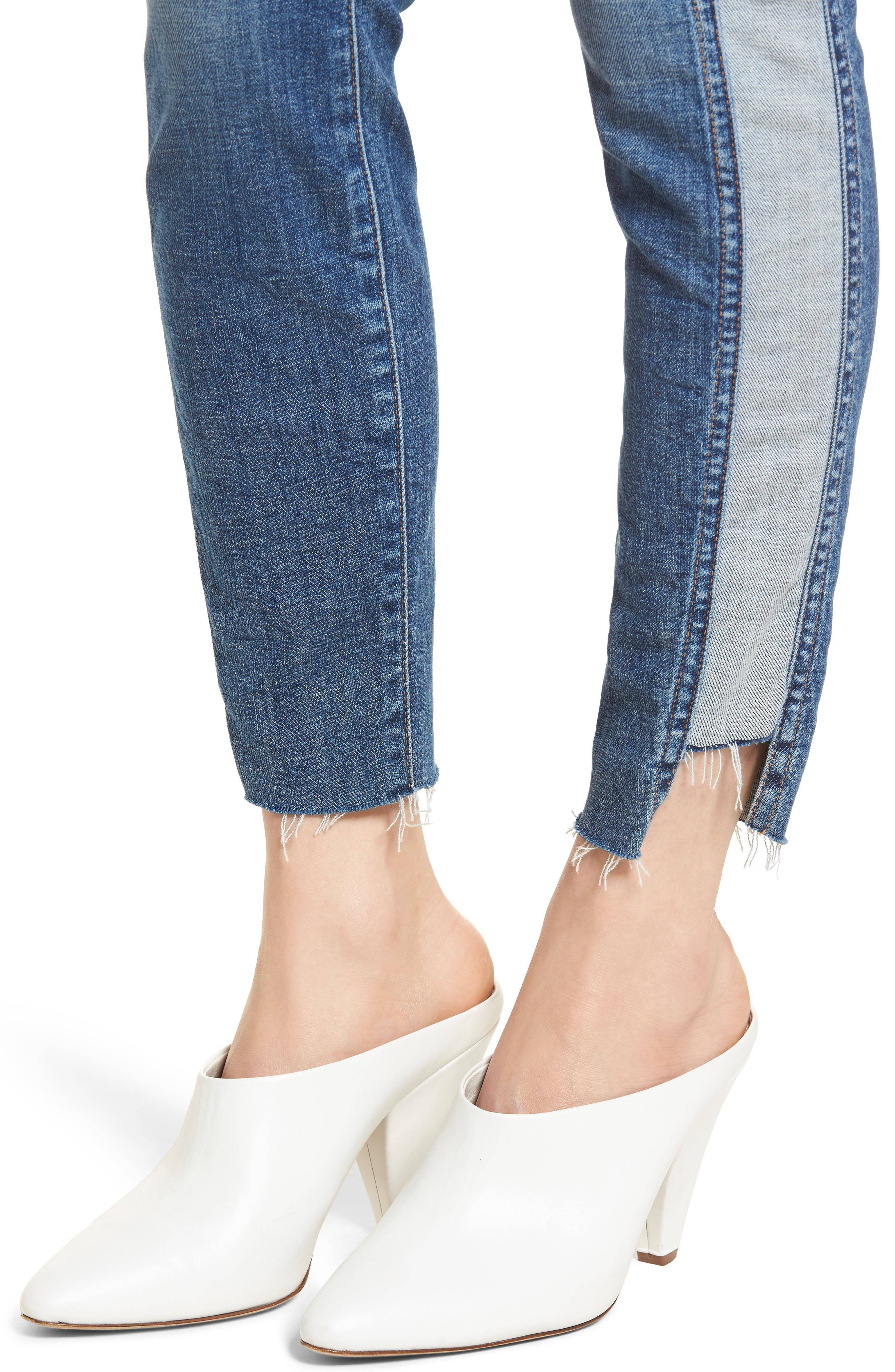 Side Panel Inset Ankle Skinny Jeans,                             Alternate thumbnail 4, color,                             400