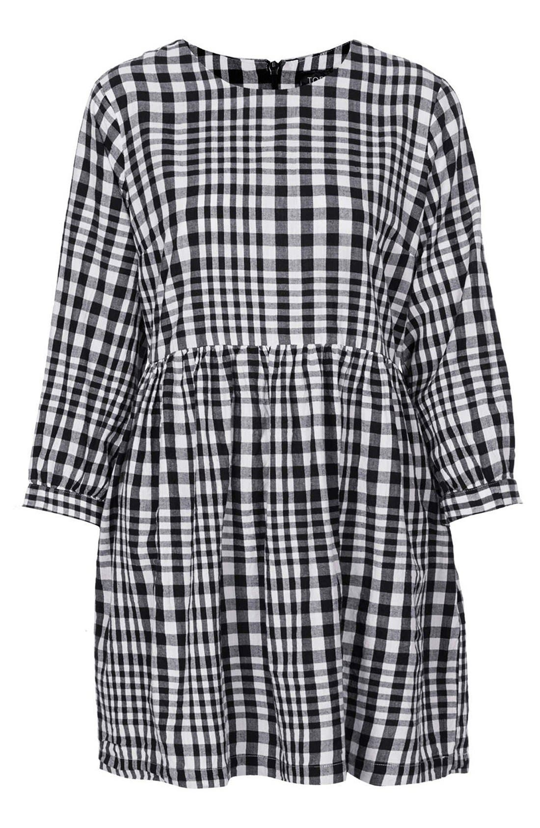 Gingham Cotton Smock Dress,                             Alternate thumbnail 2, color,                             002