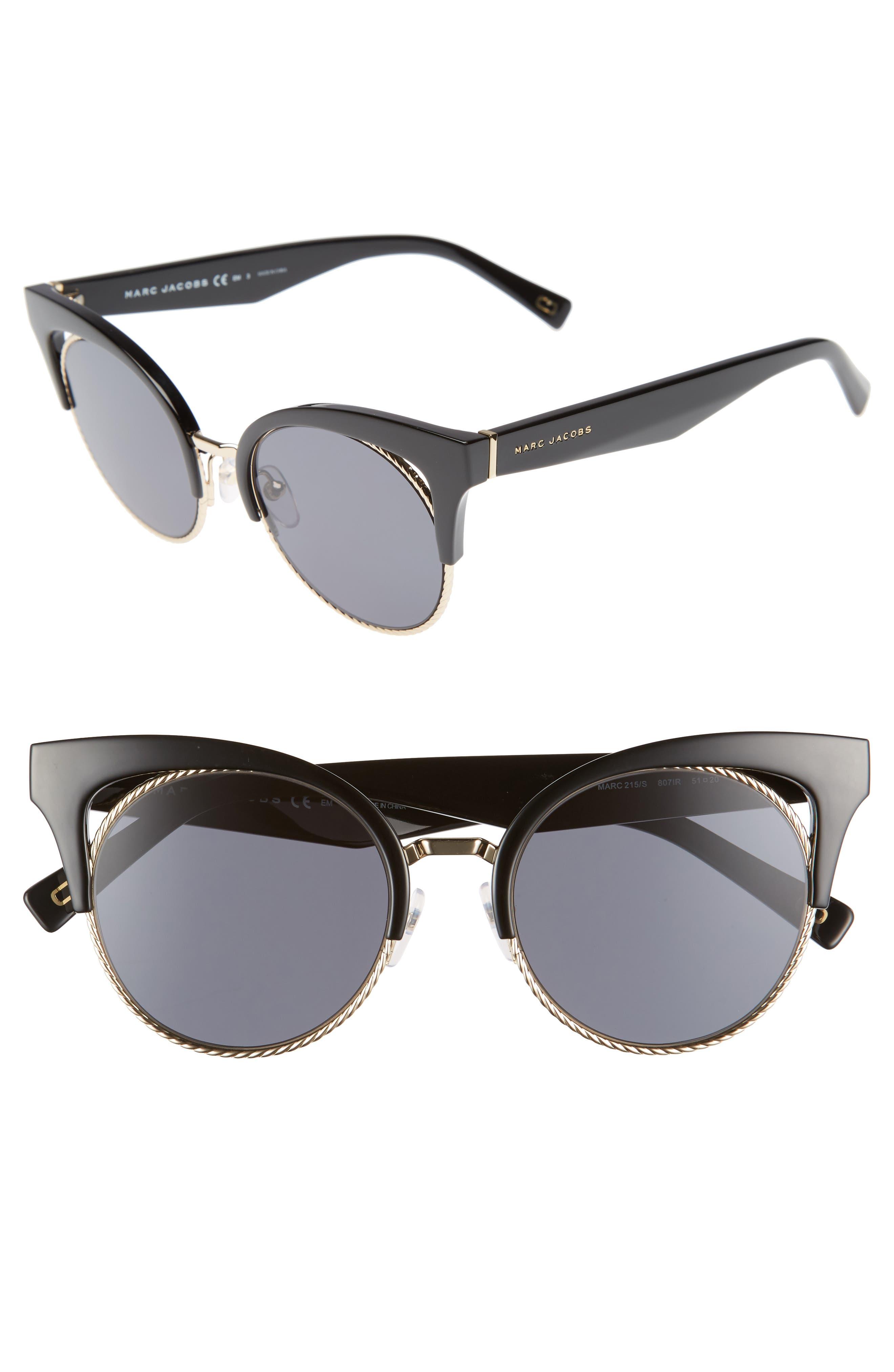 51mm Gradient Lens Cat Eye Sunglasses,                             Main thumbnail 1, color,