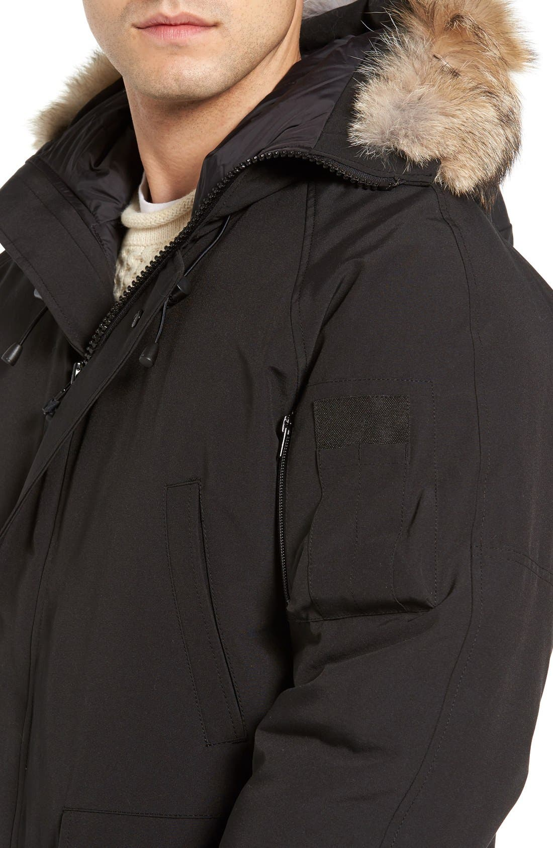 'Chilliwack' Down Bomber Jacket with Genuine Coyote Trim,                             Alternate thumbnail 4, color,                             001