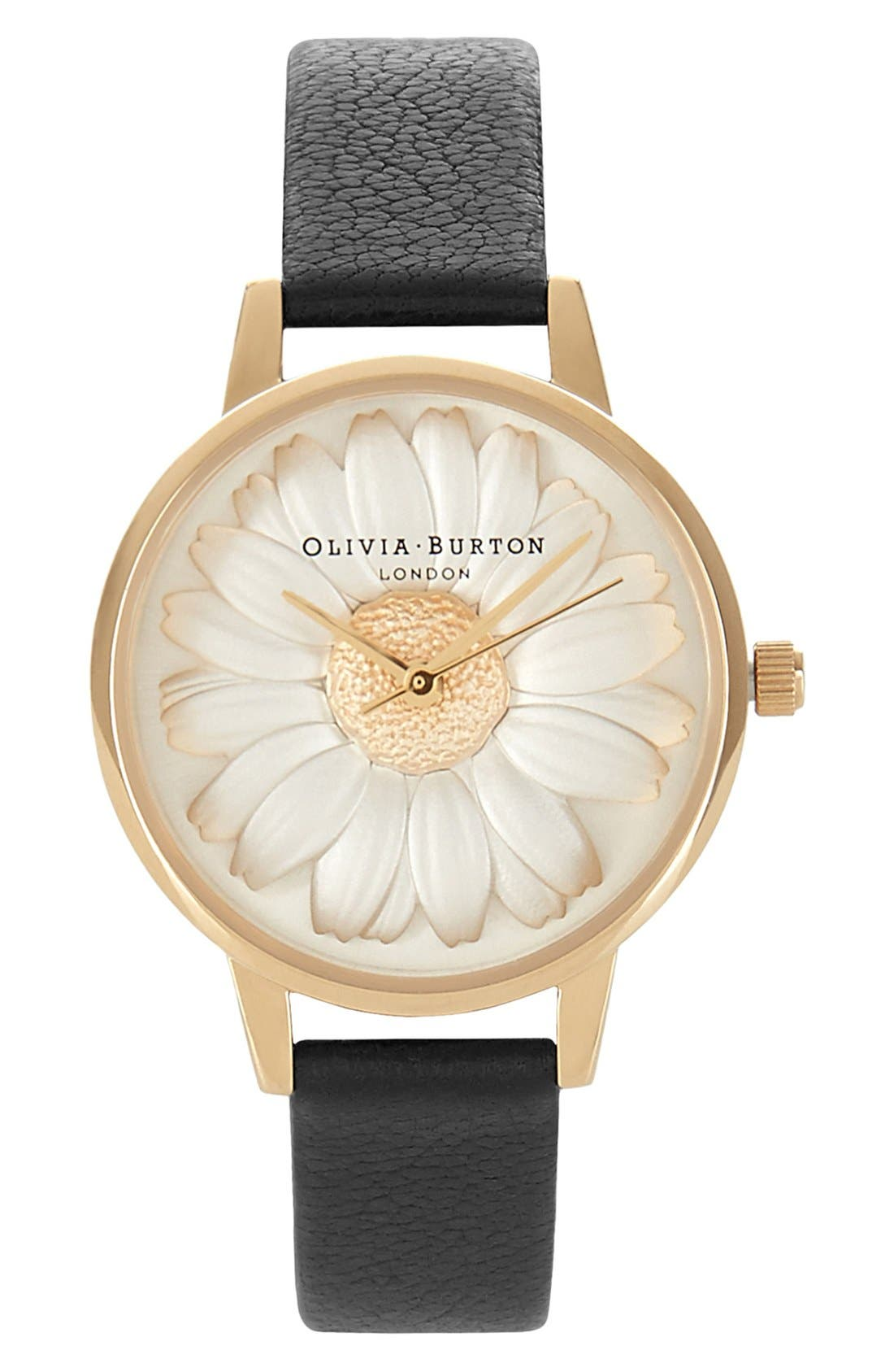 3D Daisy Leather Strap Watch, 30mm,                             Main thumbnail 1, color,                             BLACK/ GOLD